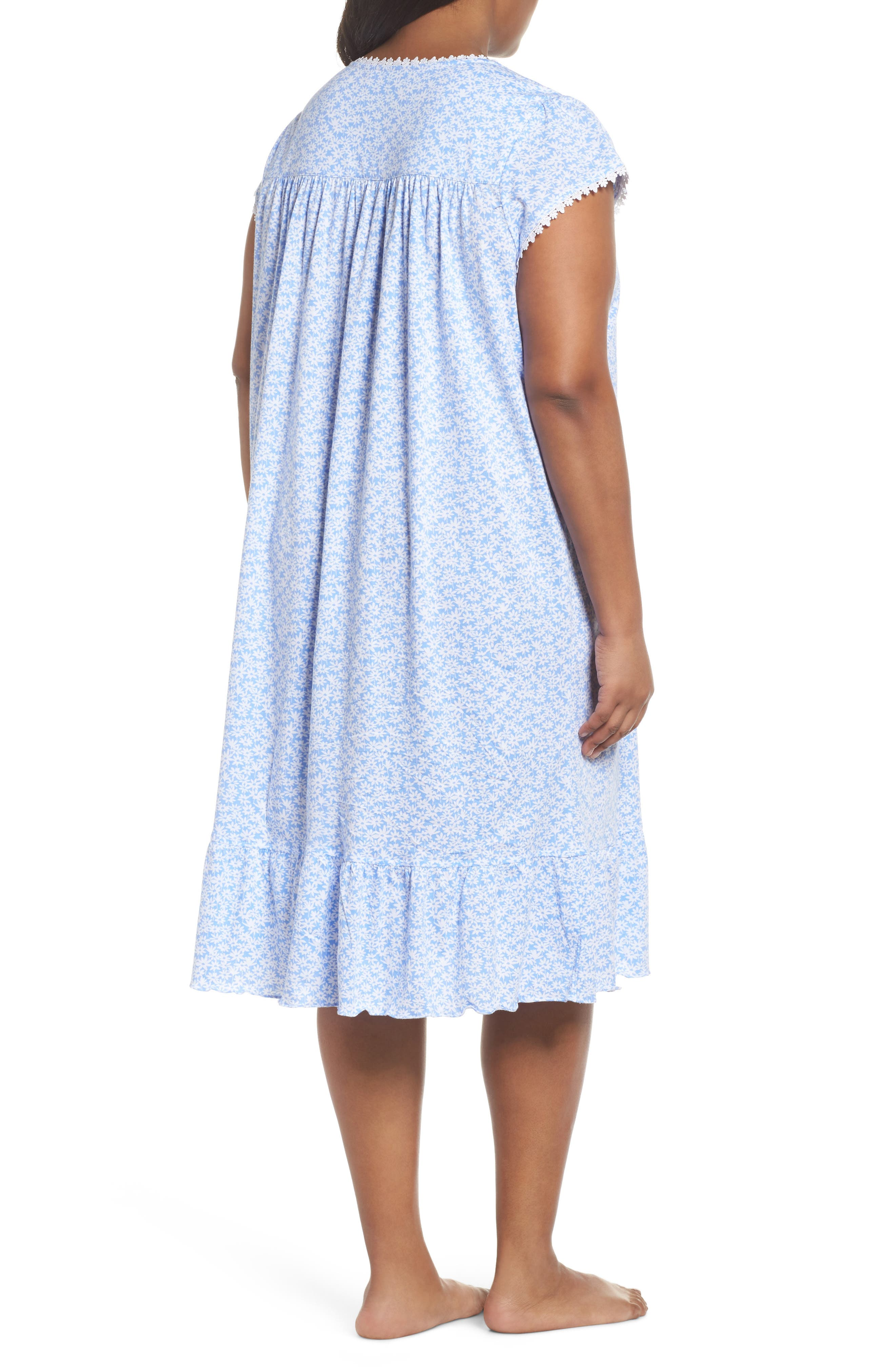 Cotton Jersey Waltz Nightgown,                             Alternate thumbnail 2, color,                             Blue White Daisies