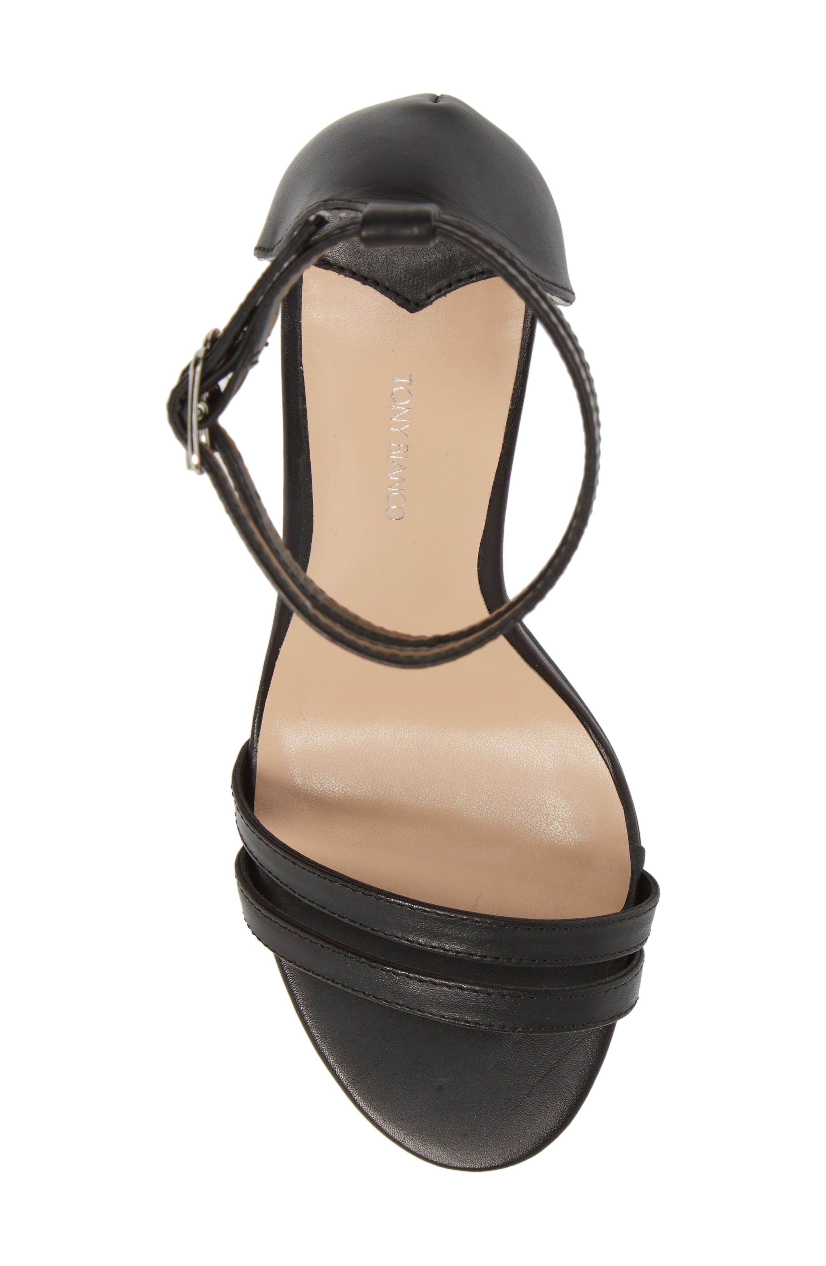 Kelly Block Heel Sandal,                             Alternate thumbnail 5, color,                             Black Monaco Leather