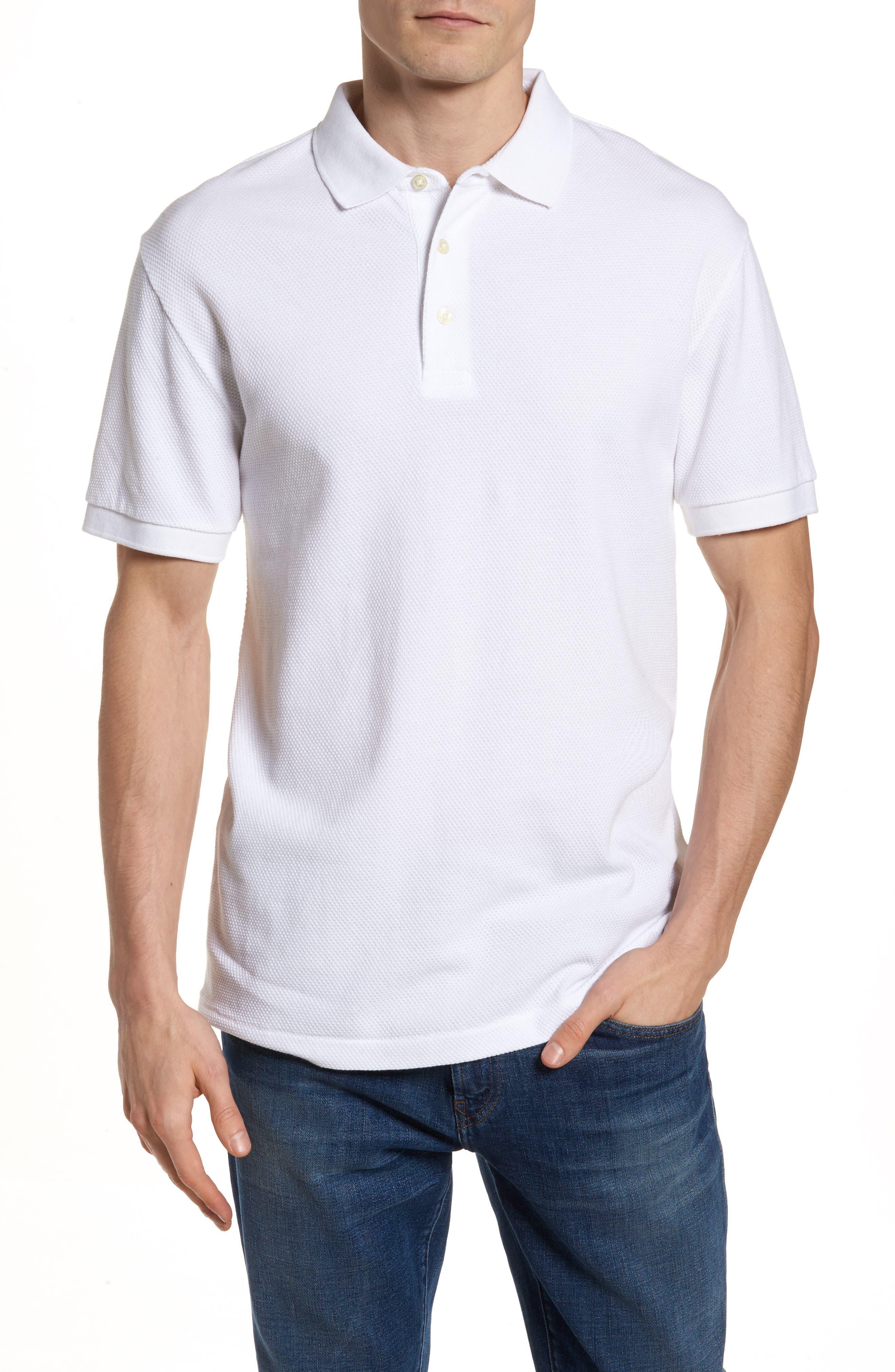 Ampthill Pebble Knit Polo,                             Main thumbnail 1, color,                             White