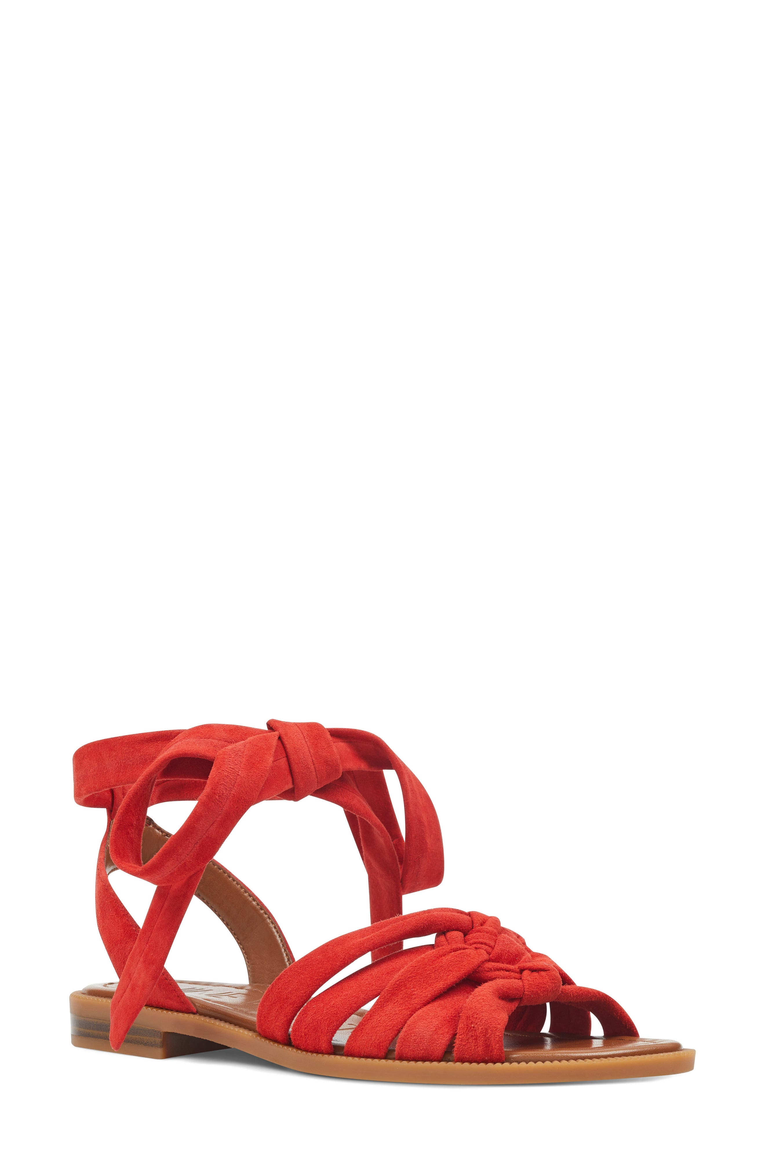 Xameera Knotted Sandal,                             Main thumbnail 1, color,                             Red Suede