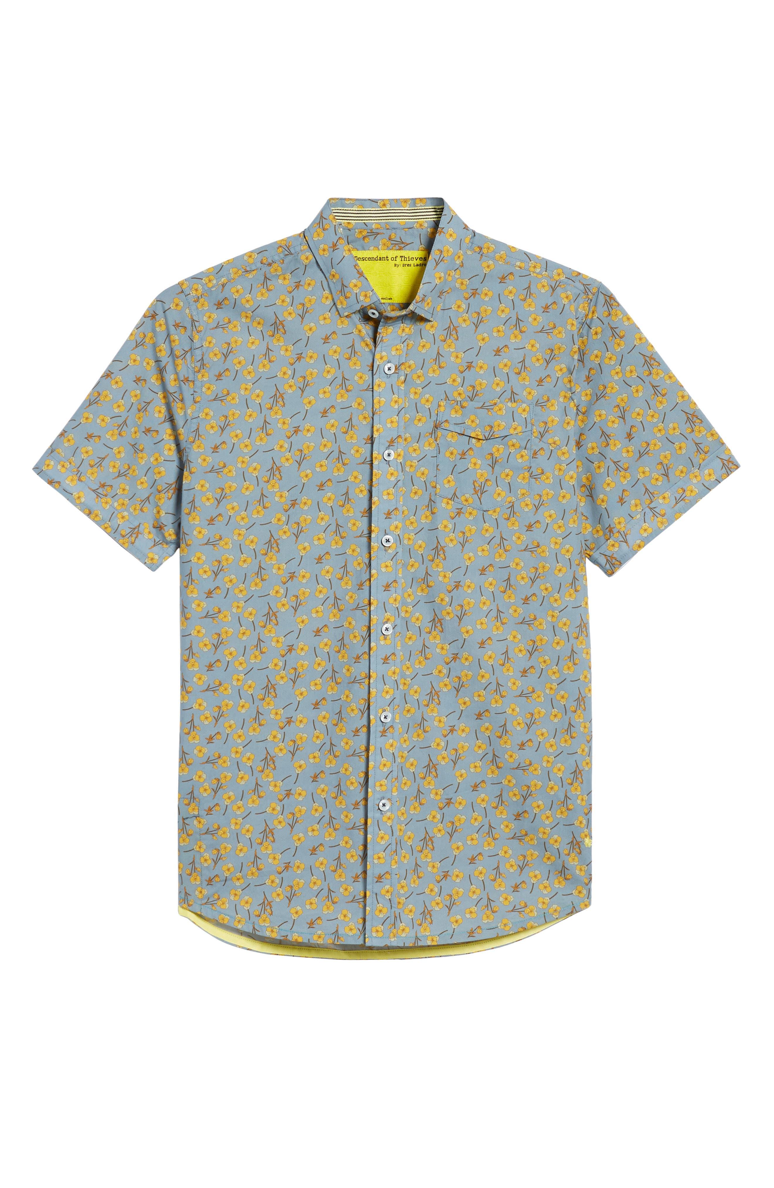 Golden Flower Shirt,                             Alternate thumbnail 6, color,                             Gold