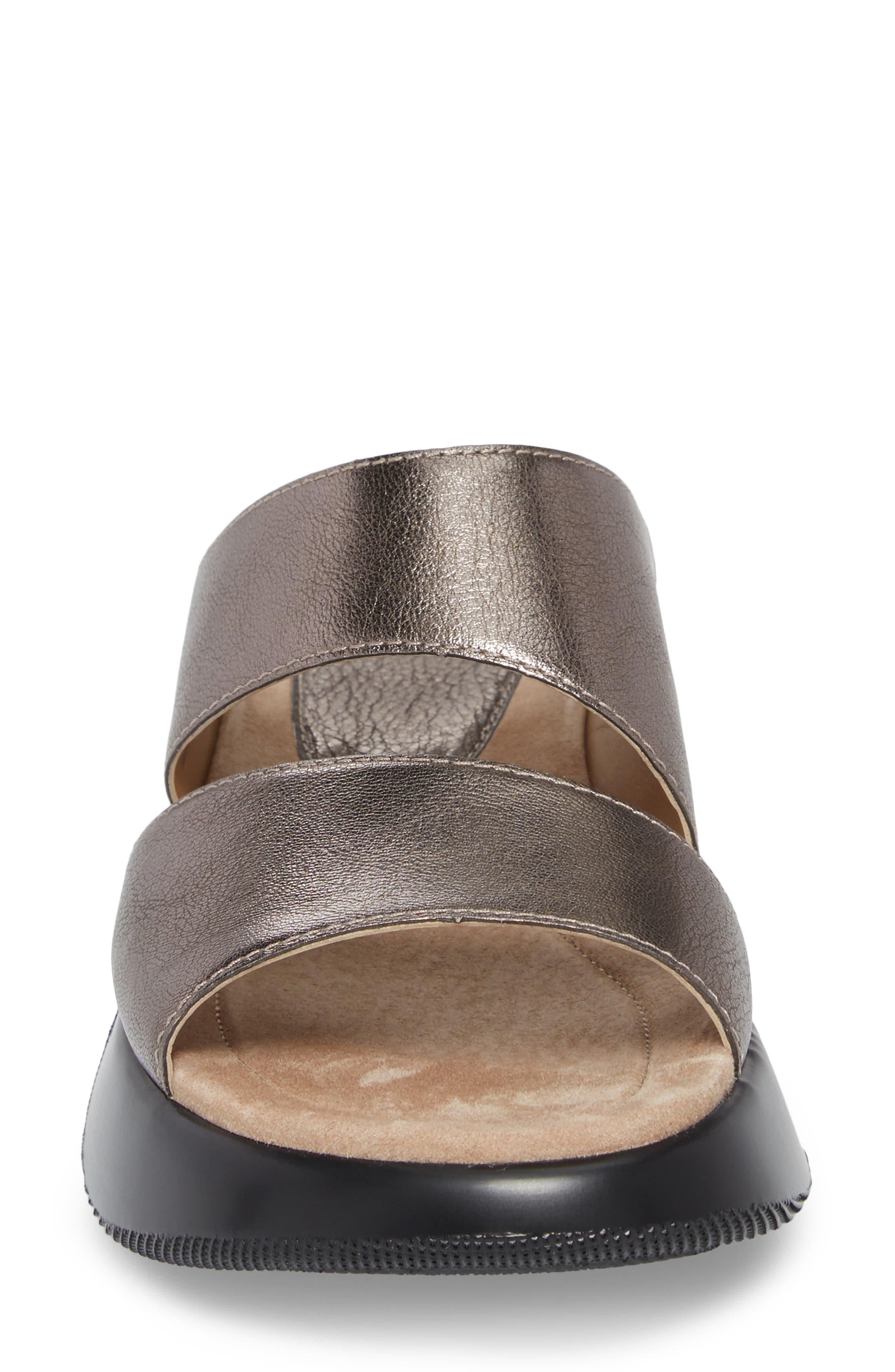 Lana Slide Sandal,                             Alternate thumbnail 4, color,                             Pewter Leather