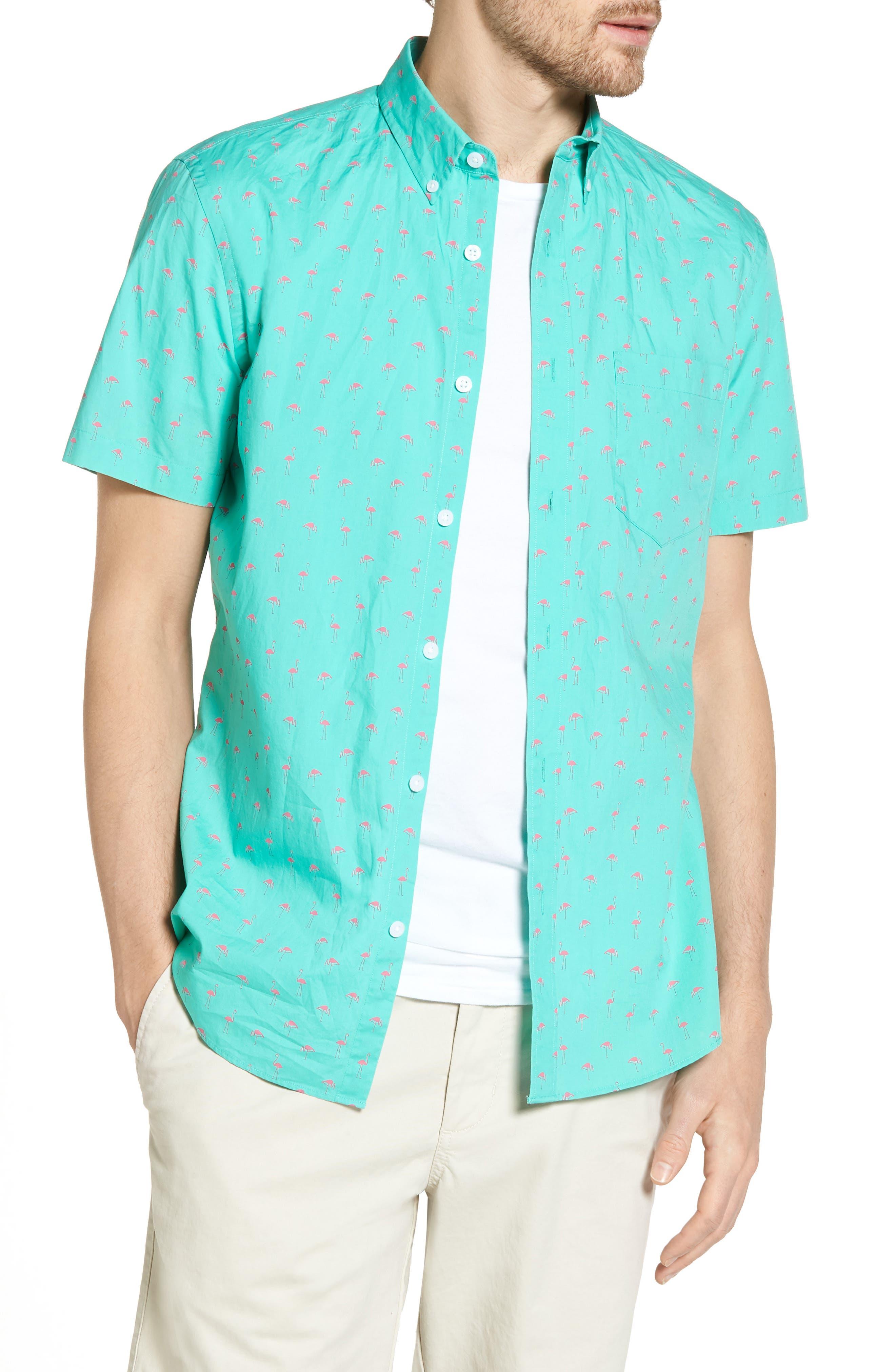 Slim Fit Flamingo Print Sport Shirt,                         Main,                         color, Green Largo Pink Flamingos