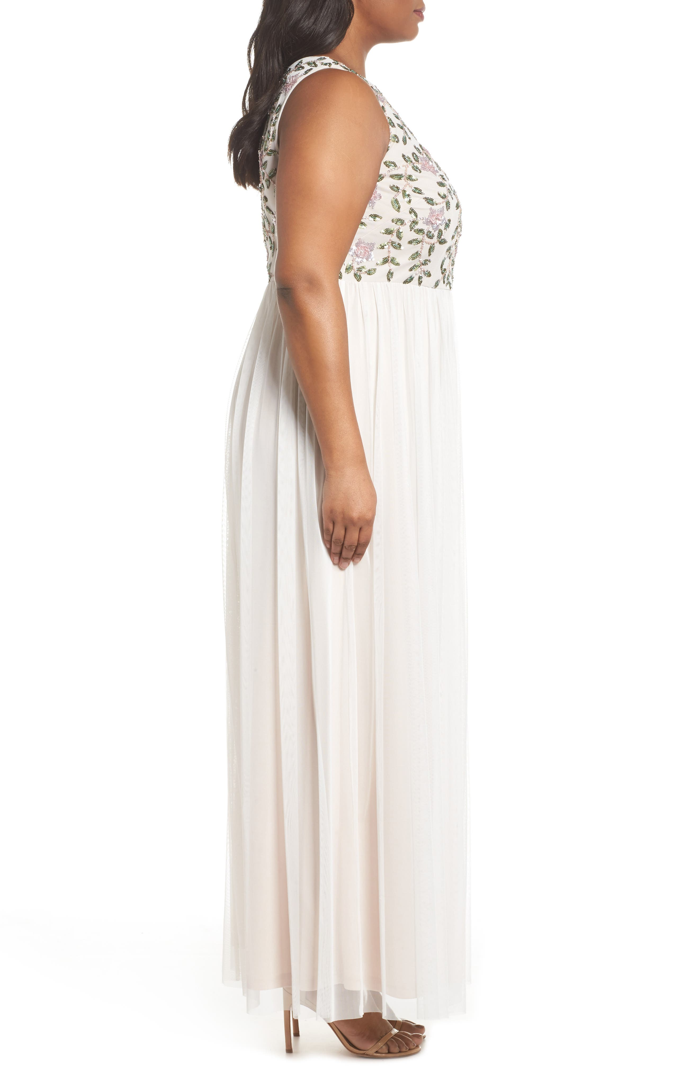 Floral Sequin Bodice Gown,                             Alternate thumbnail 3, color,                             Ivory Multi