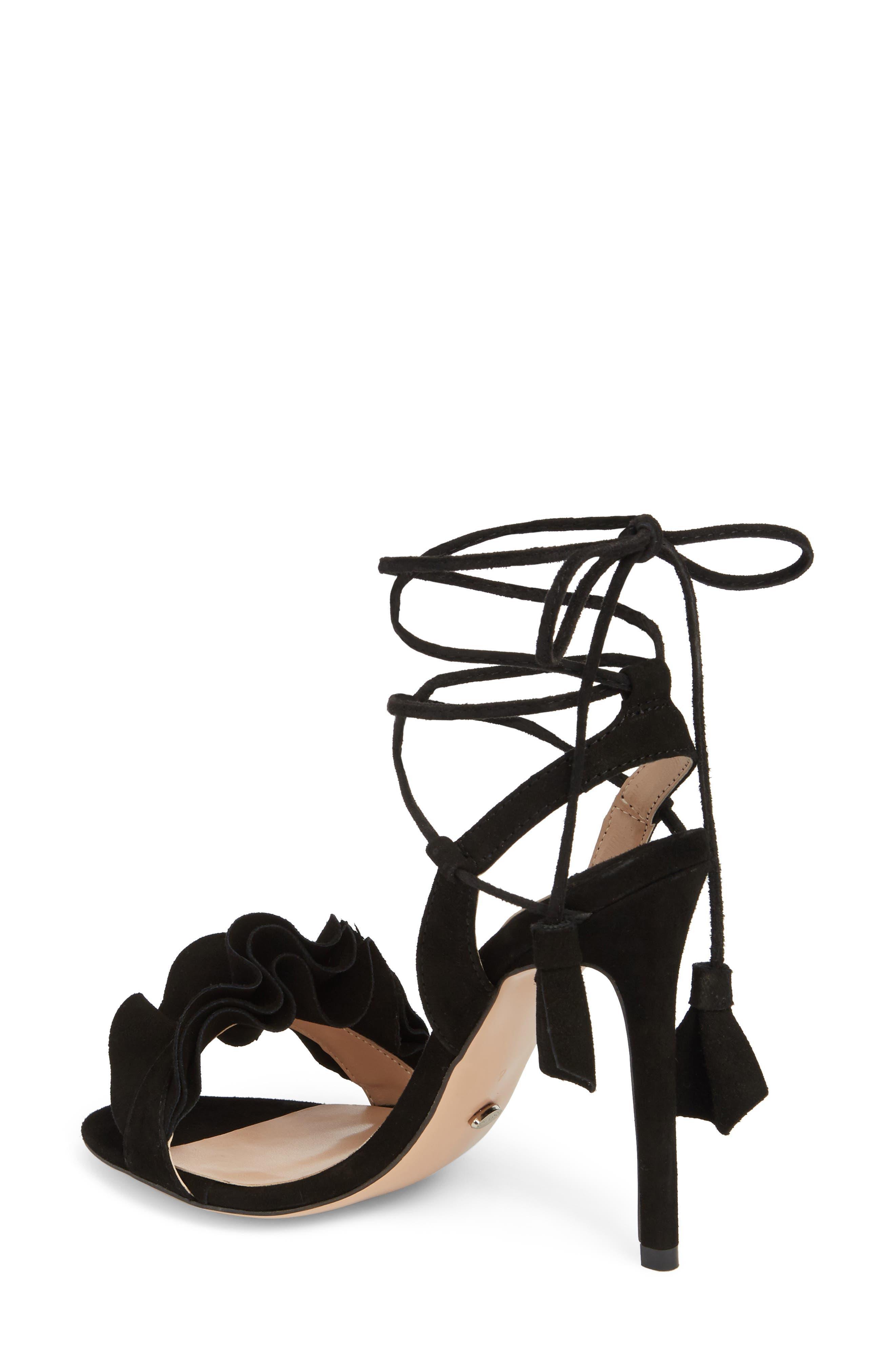 Kalipso Ruffled Wraparound Sandal,                             Alternate thumbnail 2, color,                             Black Suede