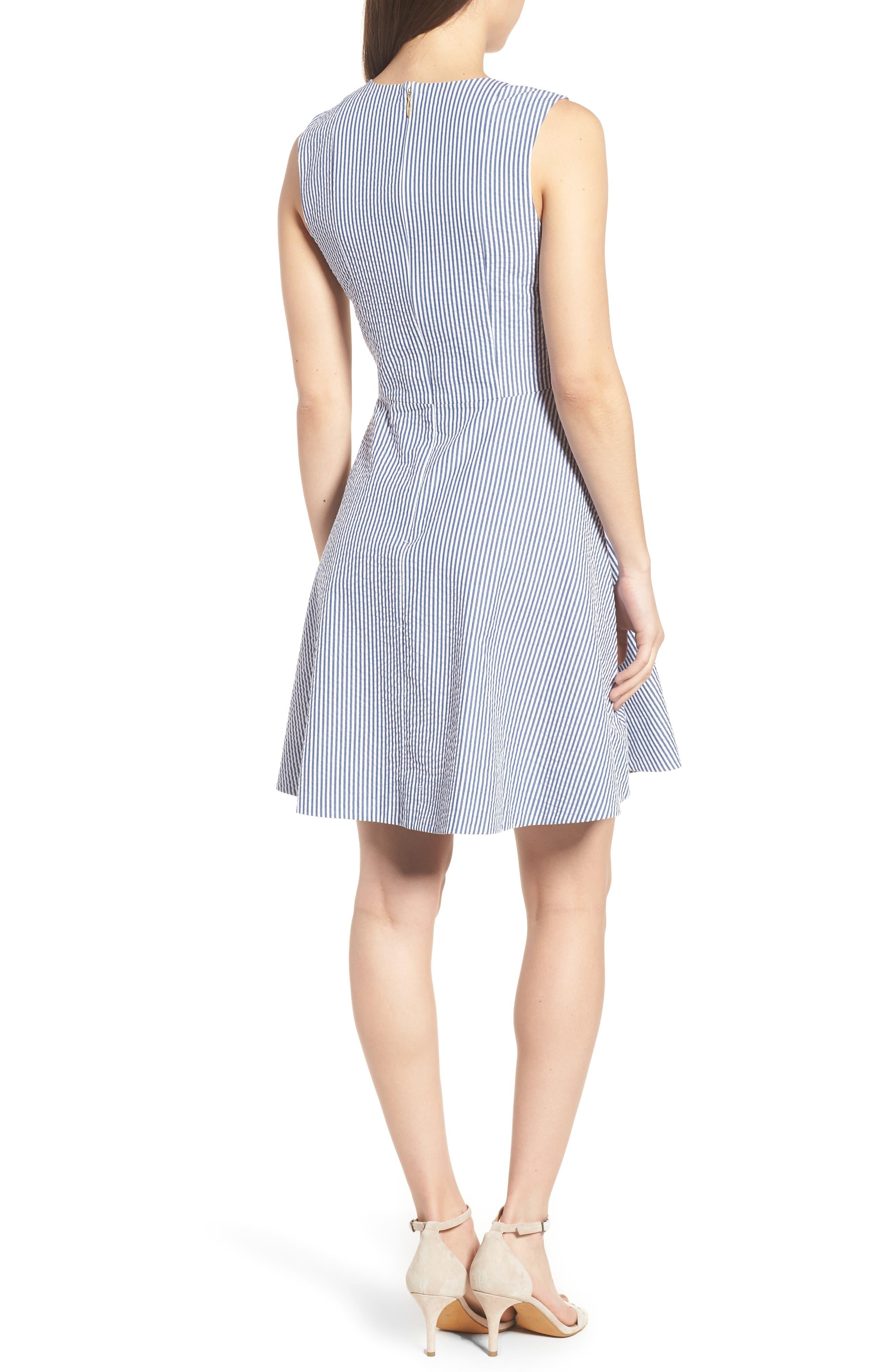 Love Circle Seersucker Stretch Cotton Dress,                             Alternate thumbnail 2, color,                             Navy