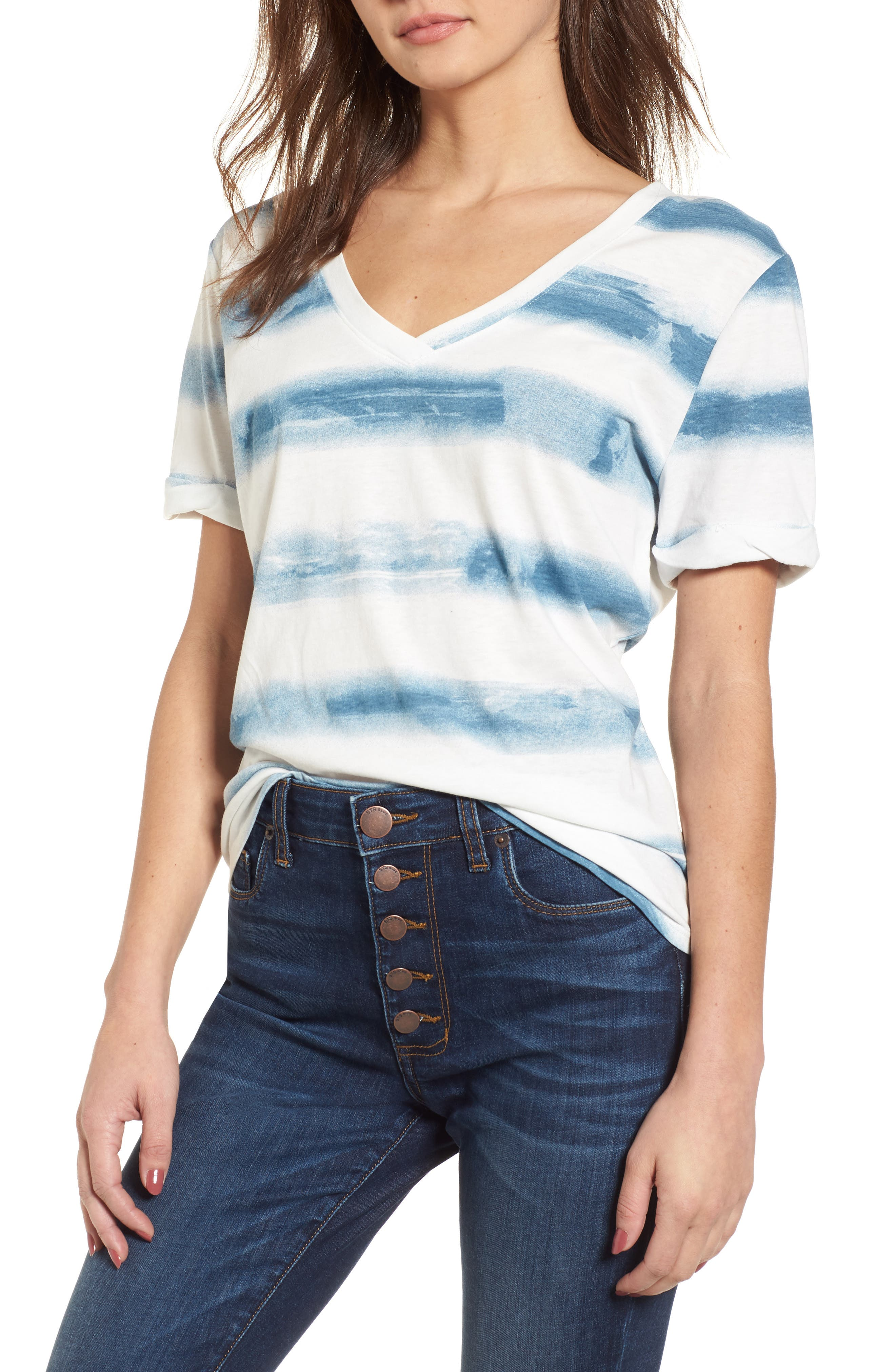 Stripe Roll Sleeve Tee,                             Main thumbnail 1, color,                             Off White/ Blue Burnout Stripe