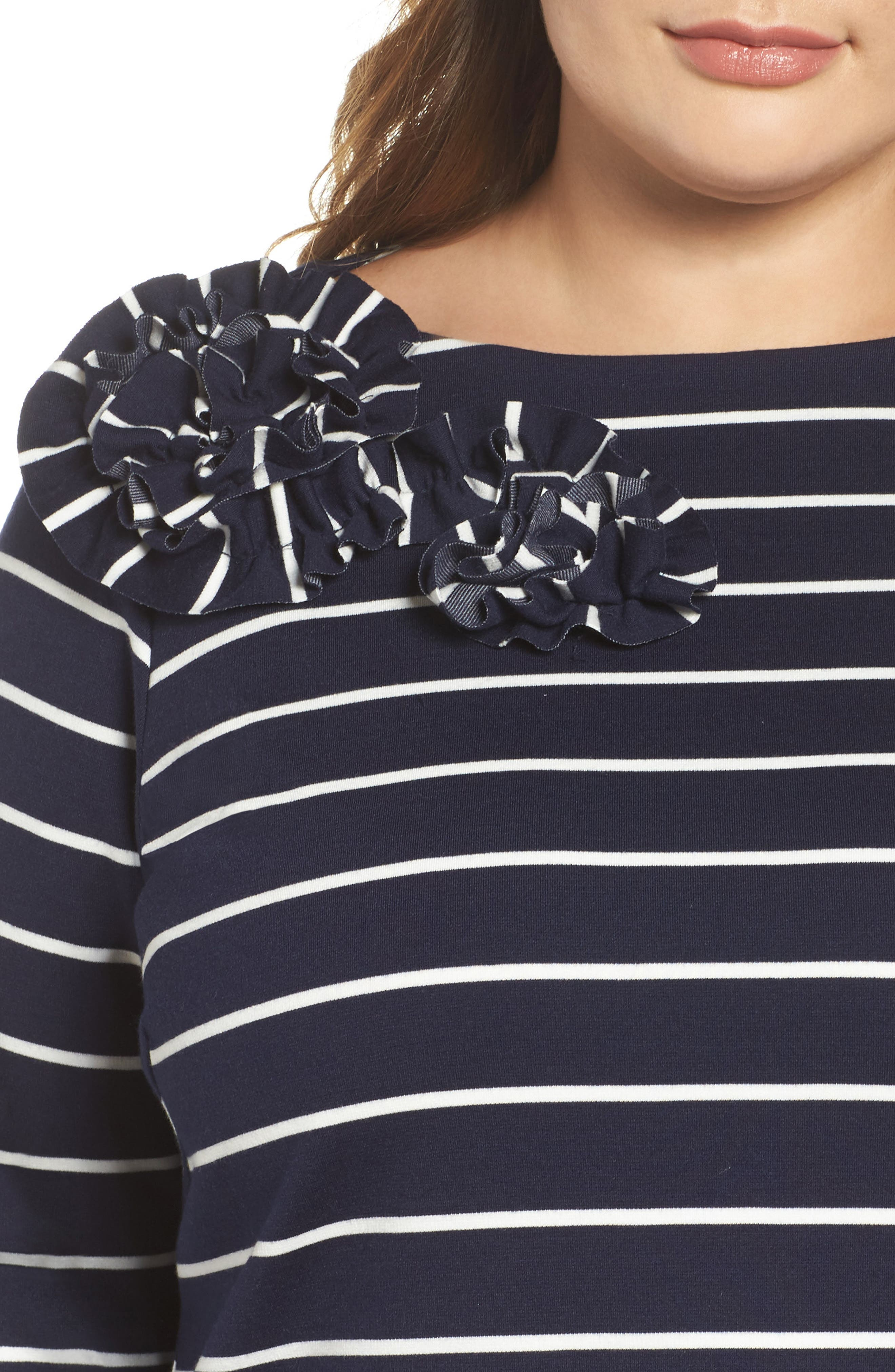 Flower Detail Jersey Shift Dress,                             Alternate thumbnail 4, color,                             Navy