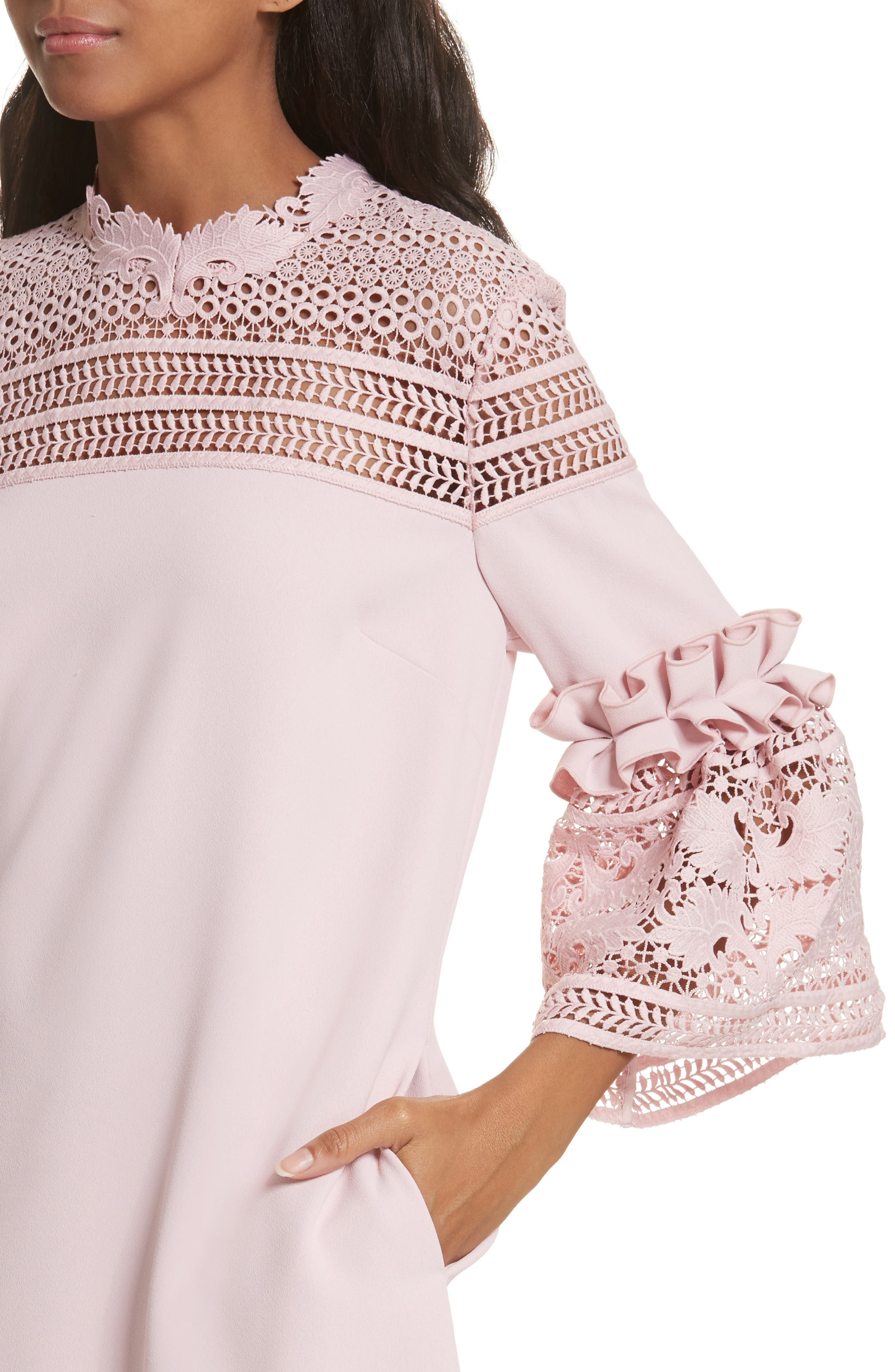Lace Panel Bell Sleeve Tunic Dress,                             Alternate thumbnail 4, color,                             Dusky Pink