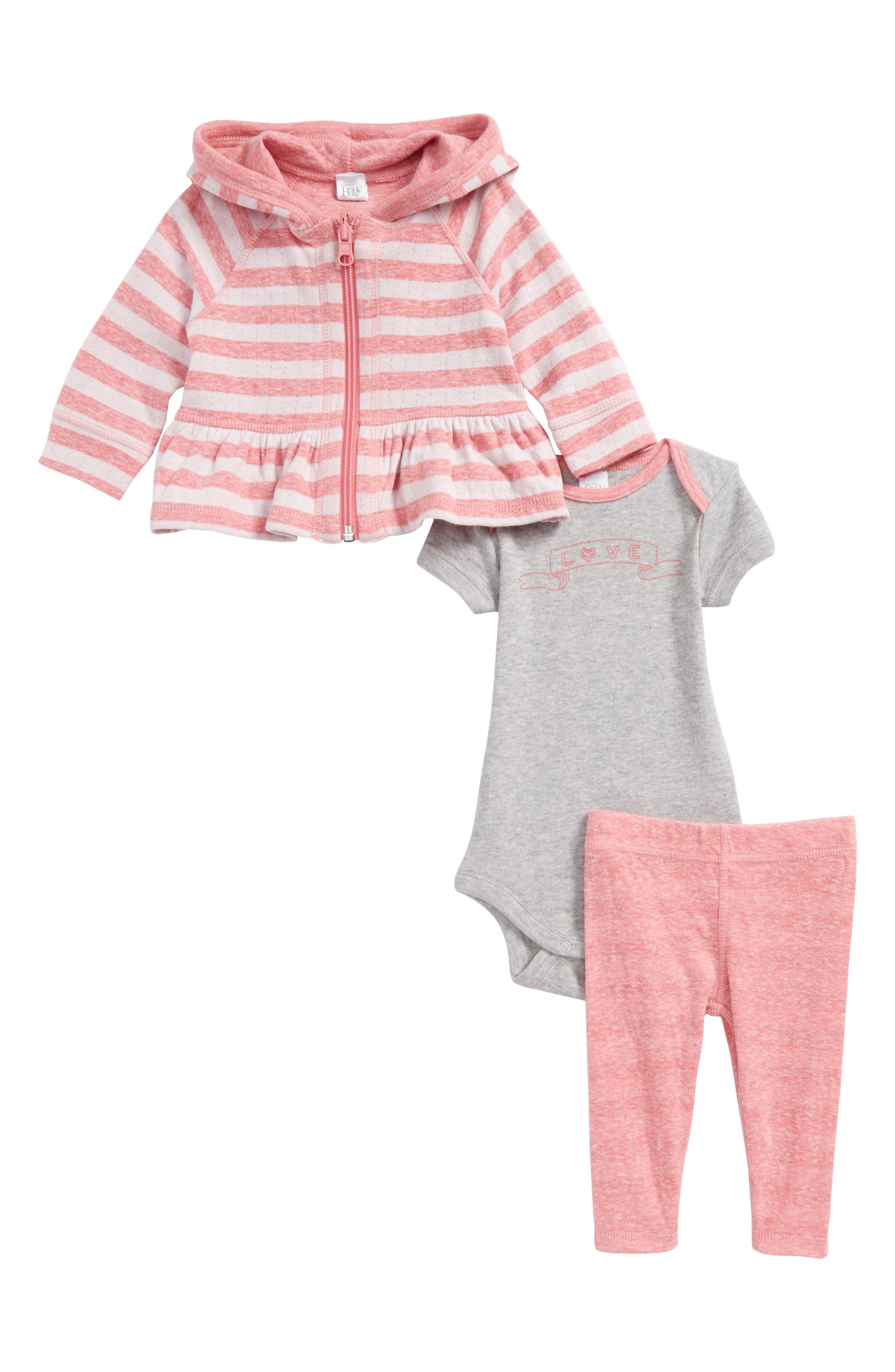 Zip Hoodie, Bodysuit & Leggings Set,                         Main,                         color, Pink Lemonade- Ivory Stripe