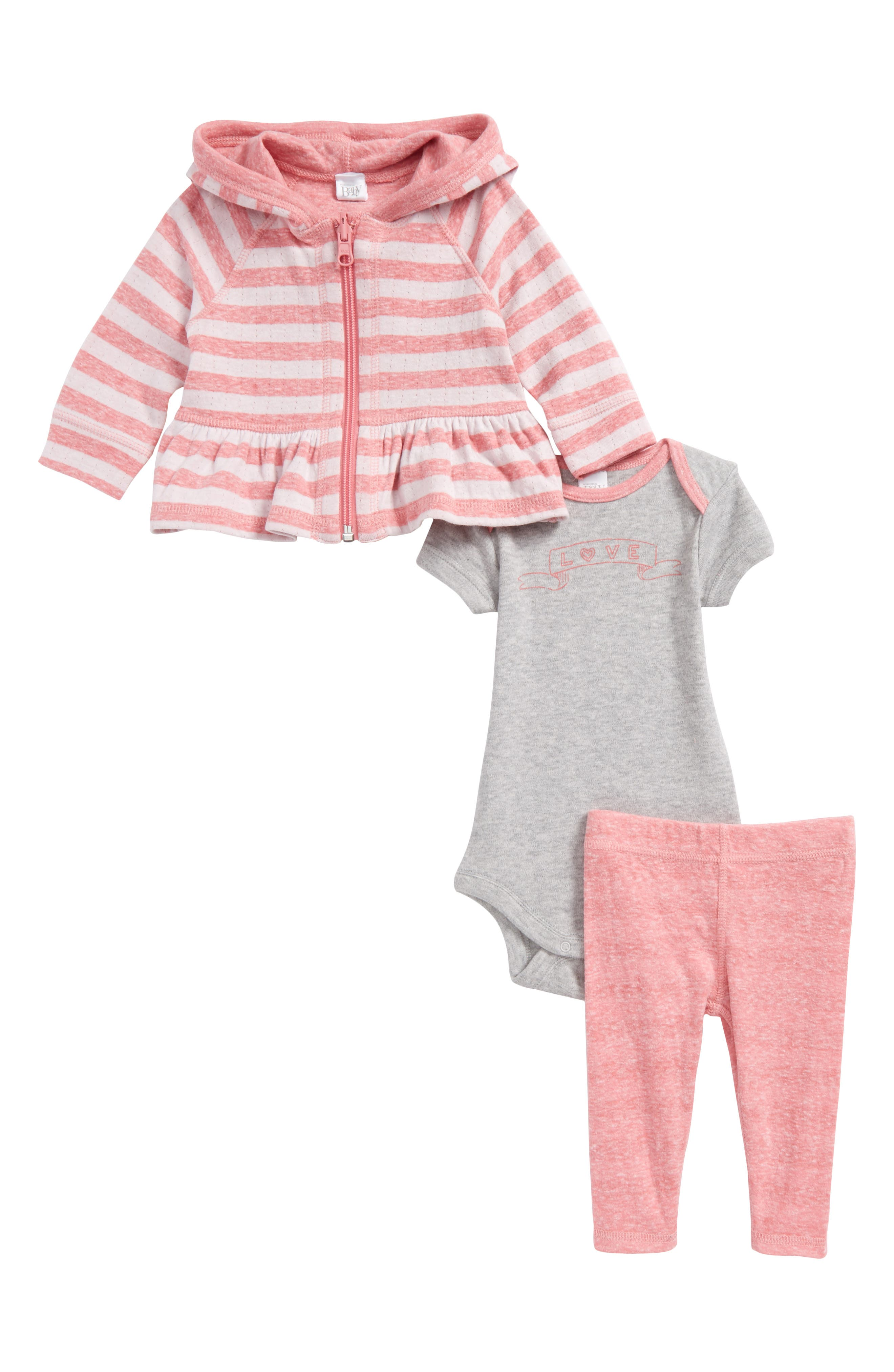 Nordstrom Baby Zip Hoodie, Bodysuit & Leggings Set (Baby Girls)