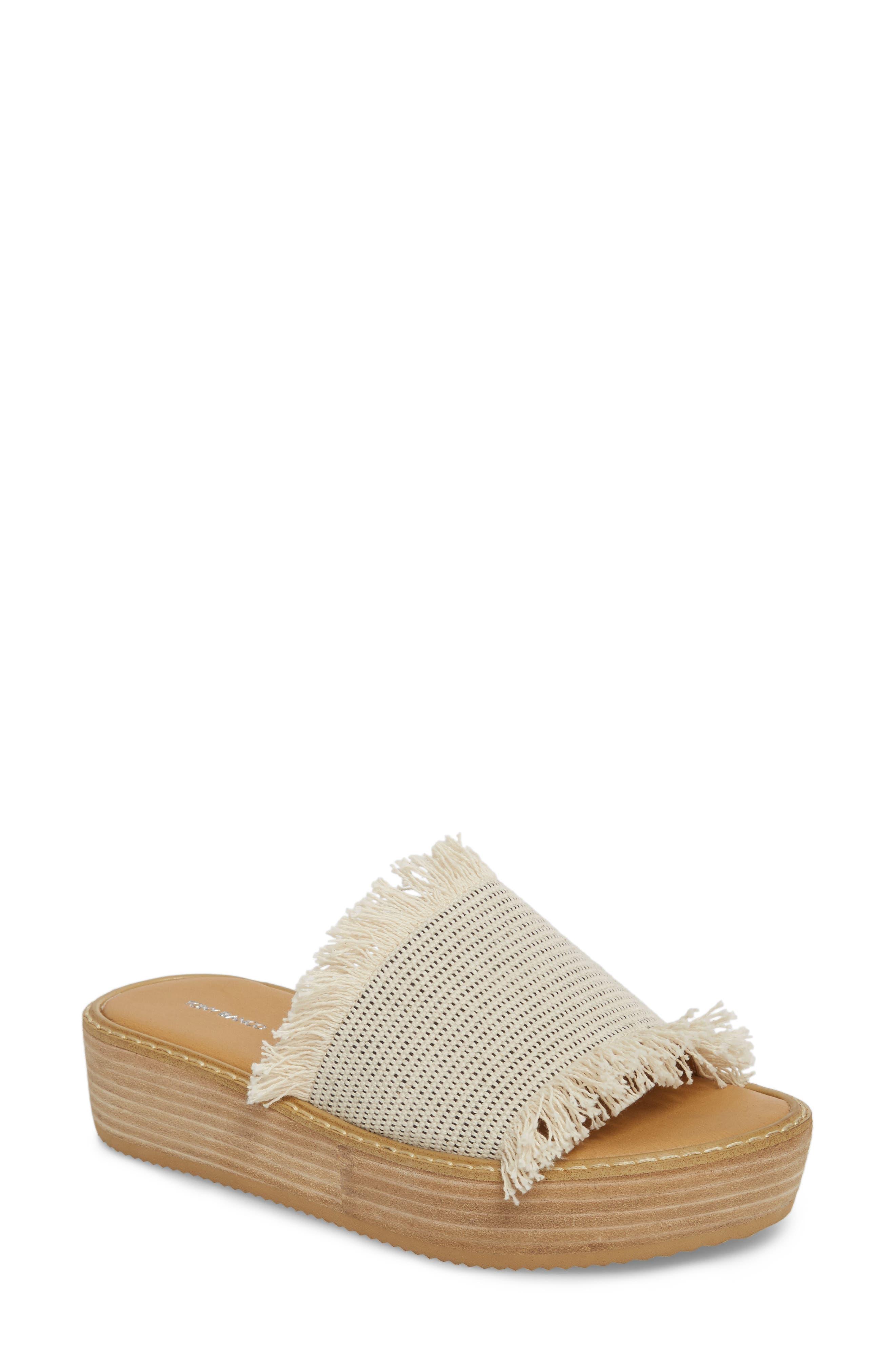 Ebony Platform Sandal,                         Main,                         color, White/ Black Osaka Fabric