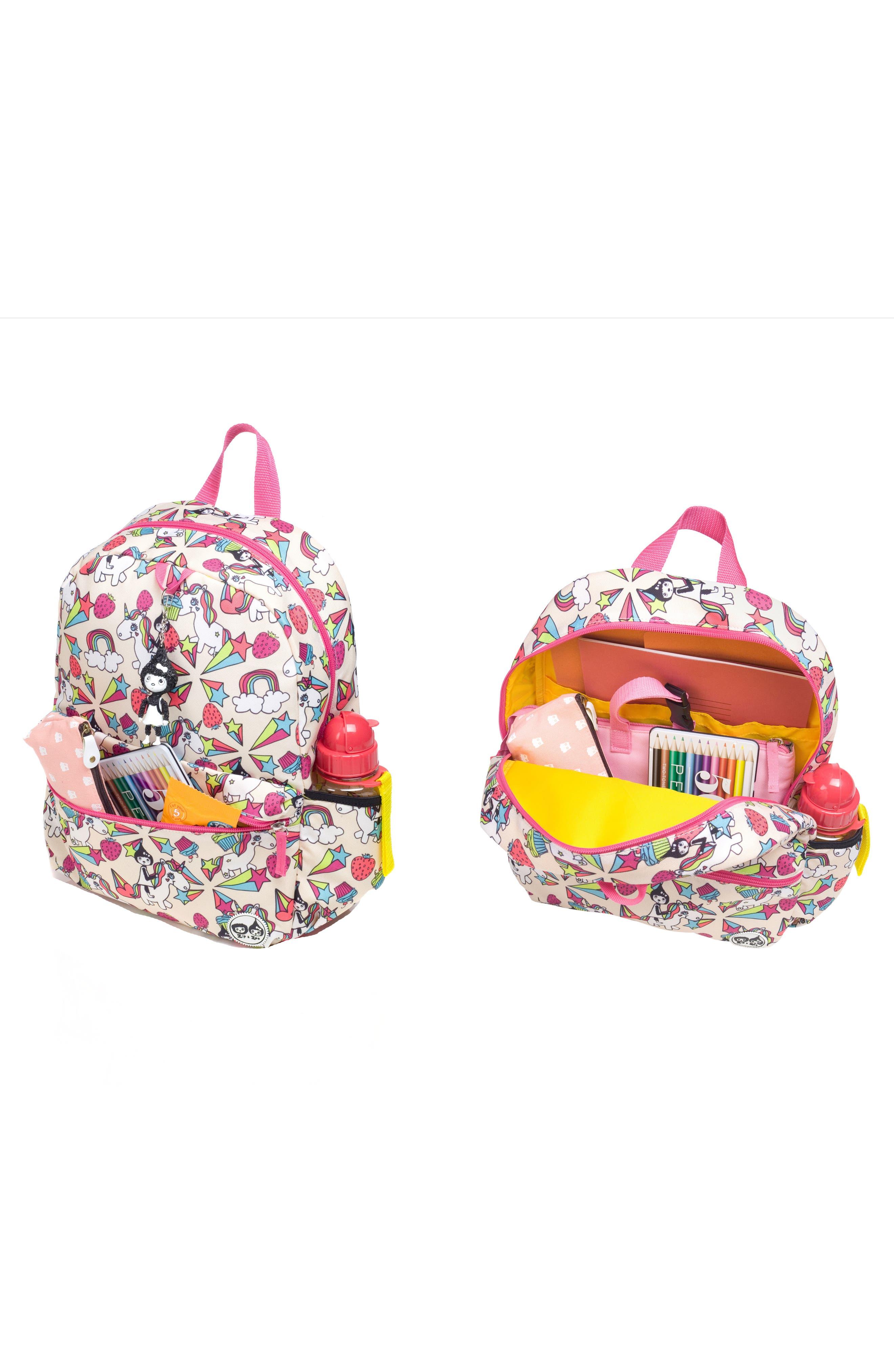 Zip & Zoe Unicorn Junior Backpack,                             Alternate thumbnail 5, color,                             White