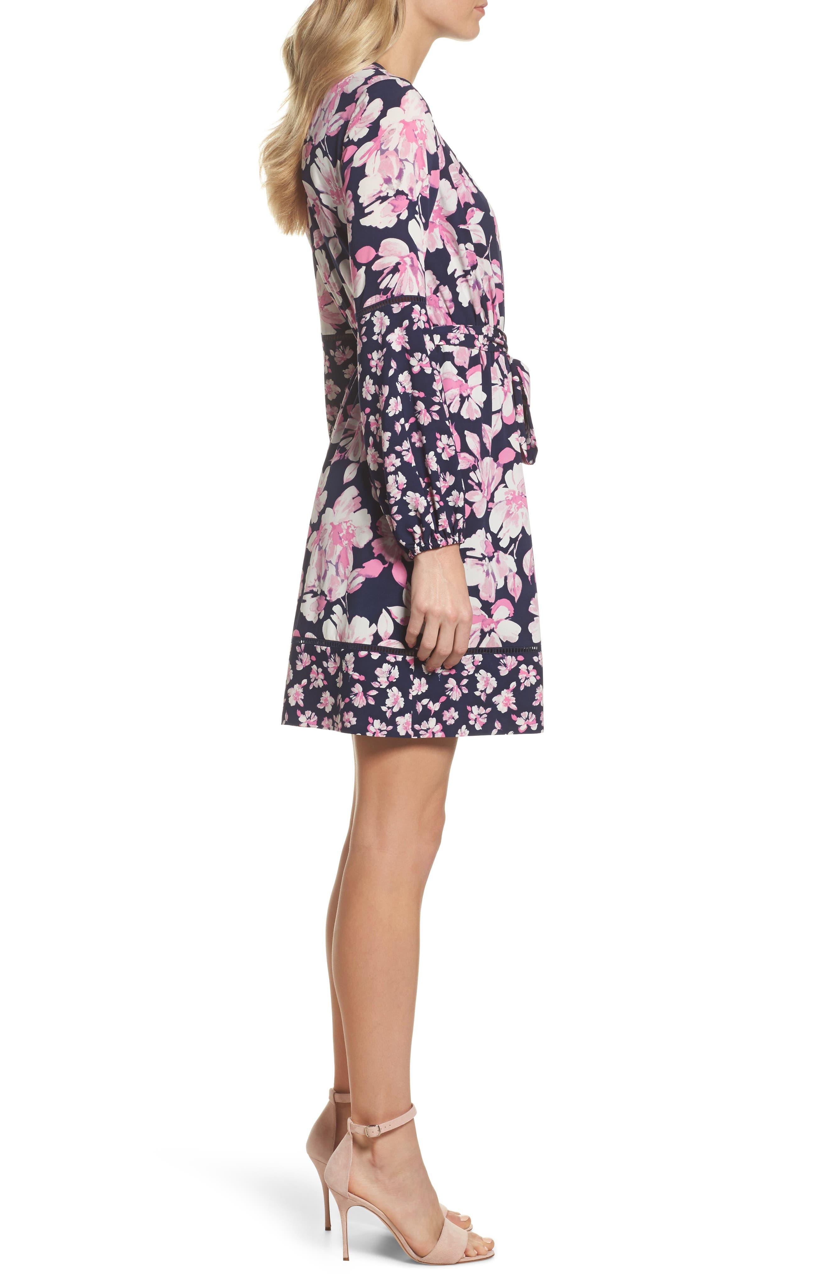 Print Faux Wrap Dress,                             Alternate thumbnail 3, color,                             Navy/ Pink