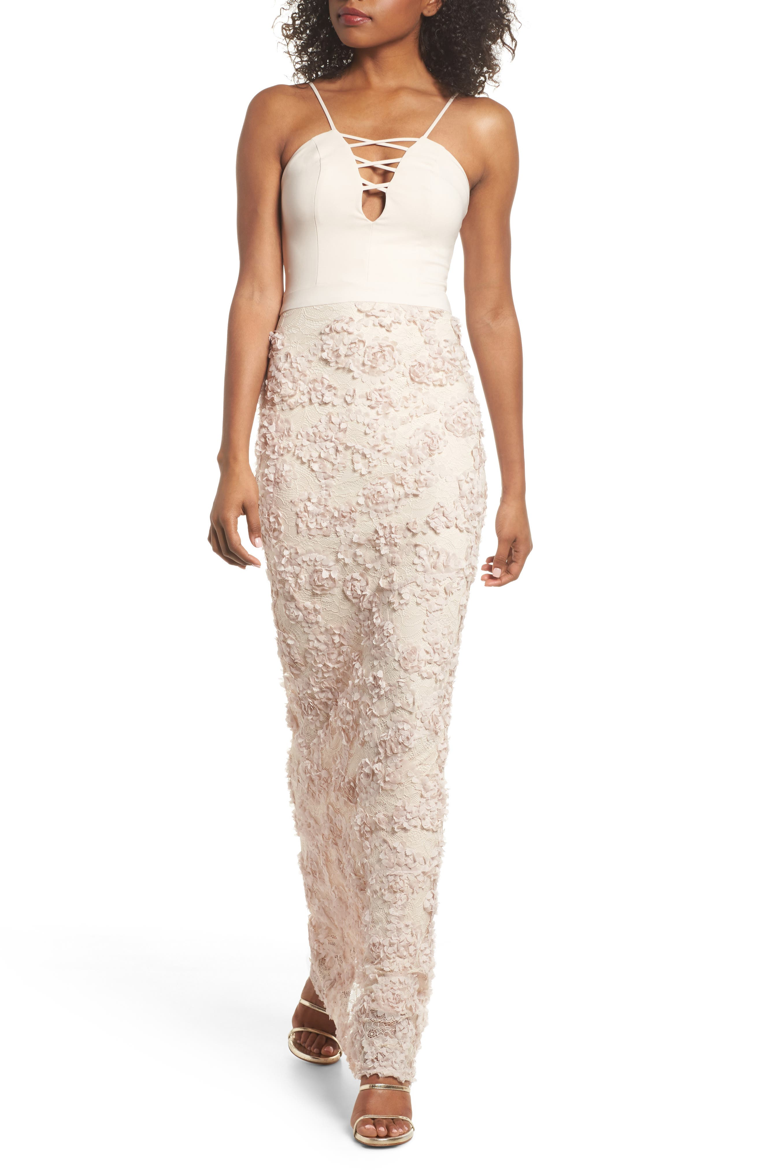 Jessie Strappy Lace Sheath Gown,                         Main,                         color, Champagne