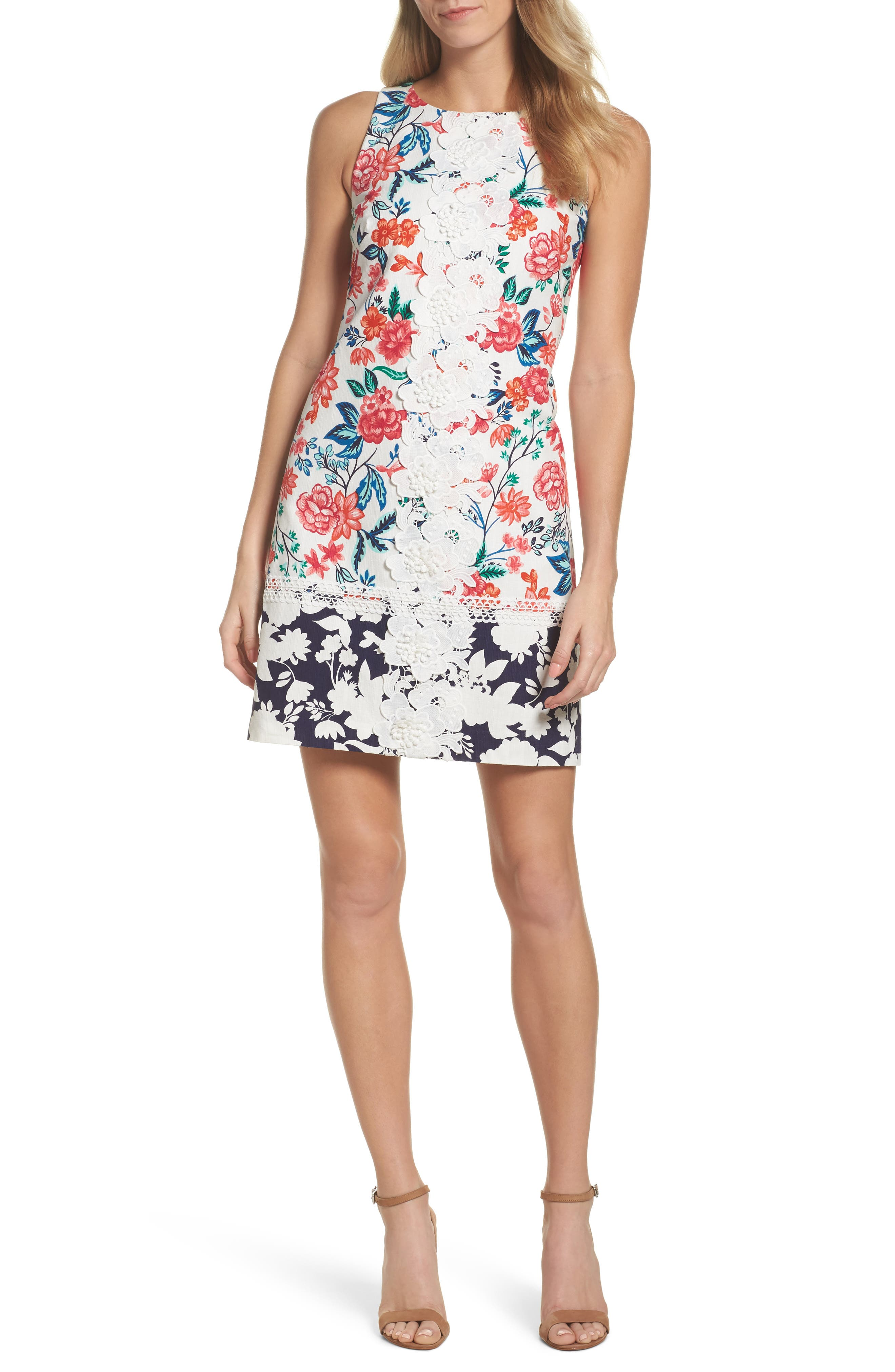 Floral Print Shift Dress,                             Main thumbnail 1, color,                             White