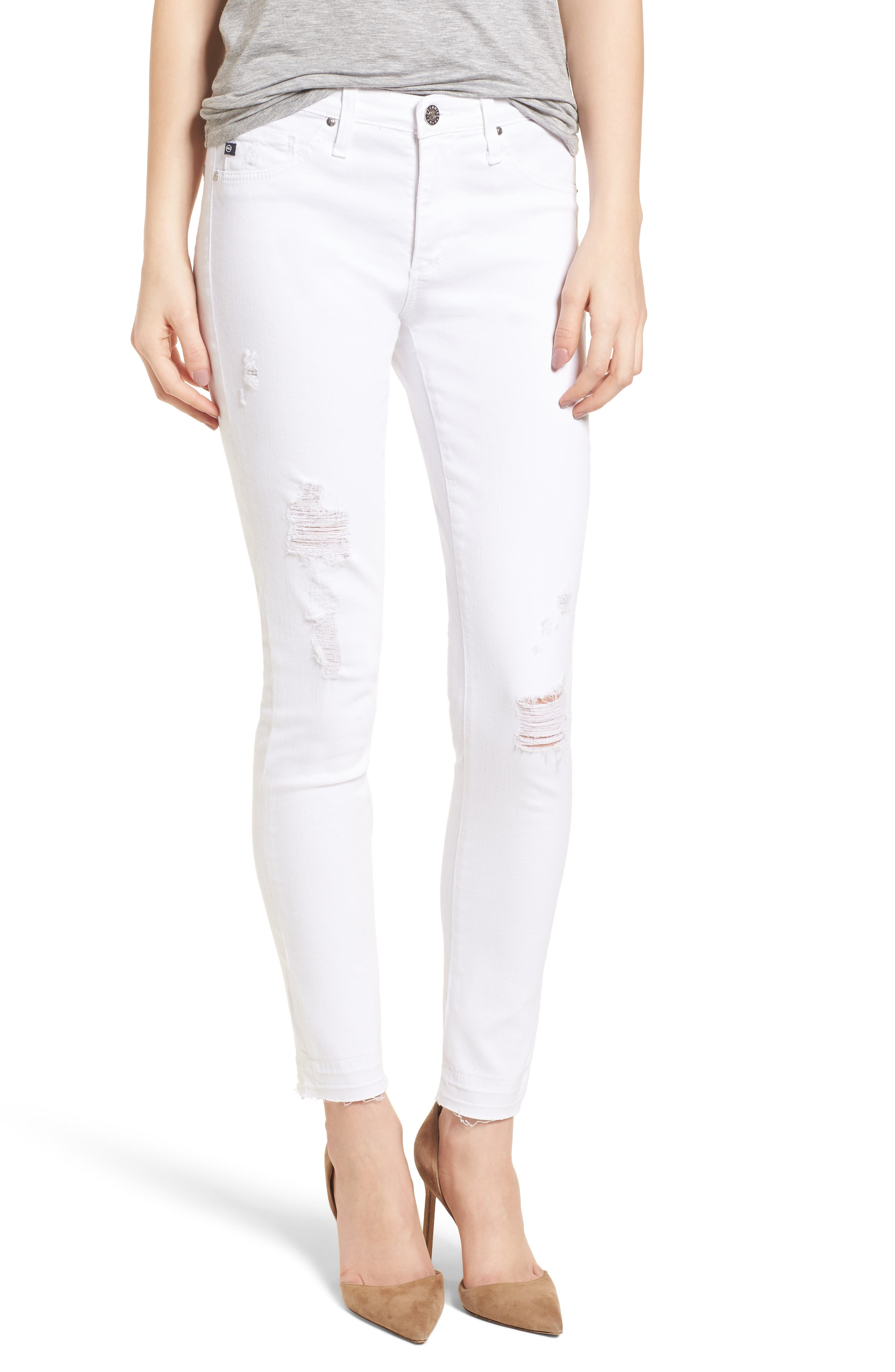 The Legging Ankle Super Skinny Jeans,                         Main,                         color, Rudimentary White