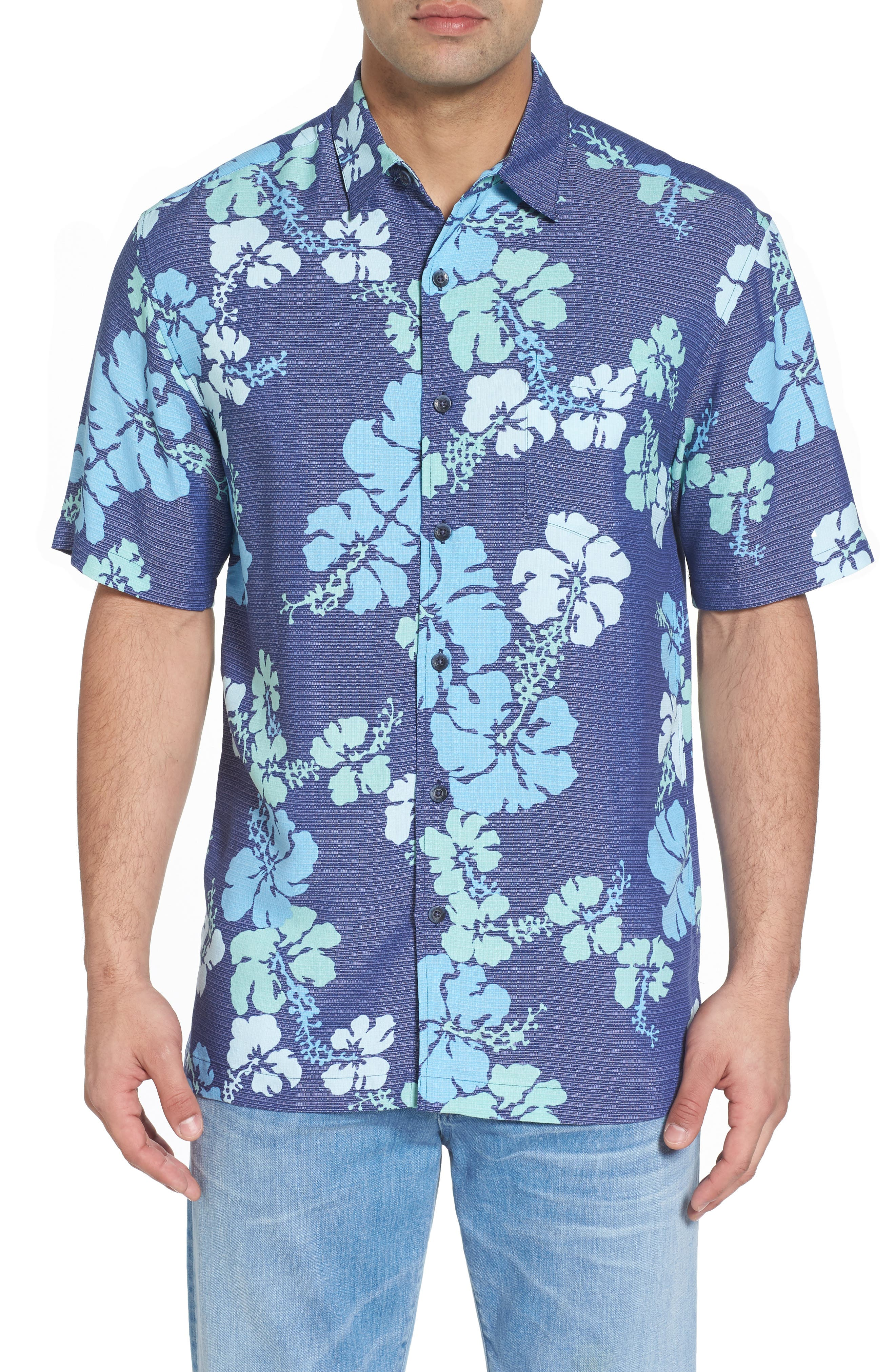 Lei Day Standard Fit Camp Shirt,                         Main,                         color, Navy