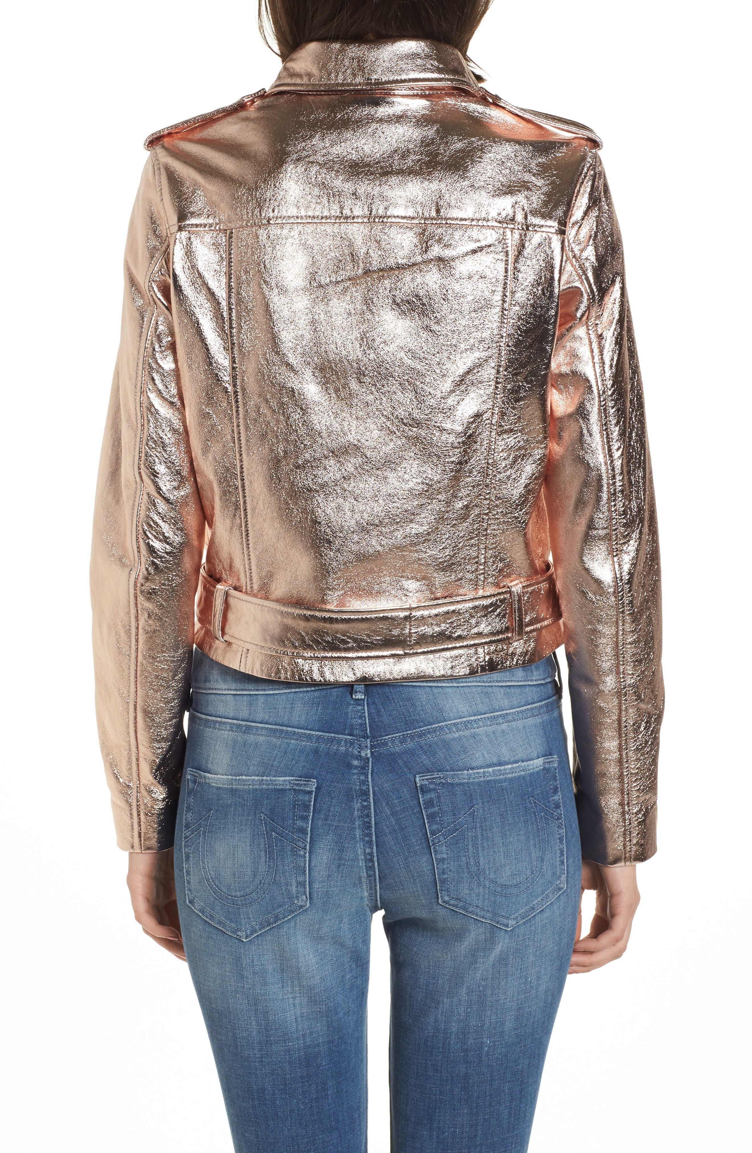 Metallic Leather Moto Jacket,                             Alternate thumbnail 2, color,                             Rose Gold
