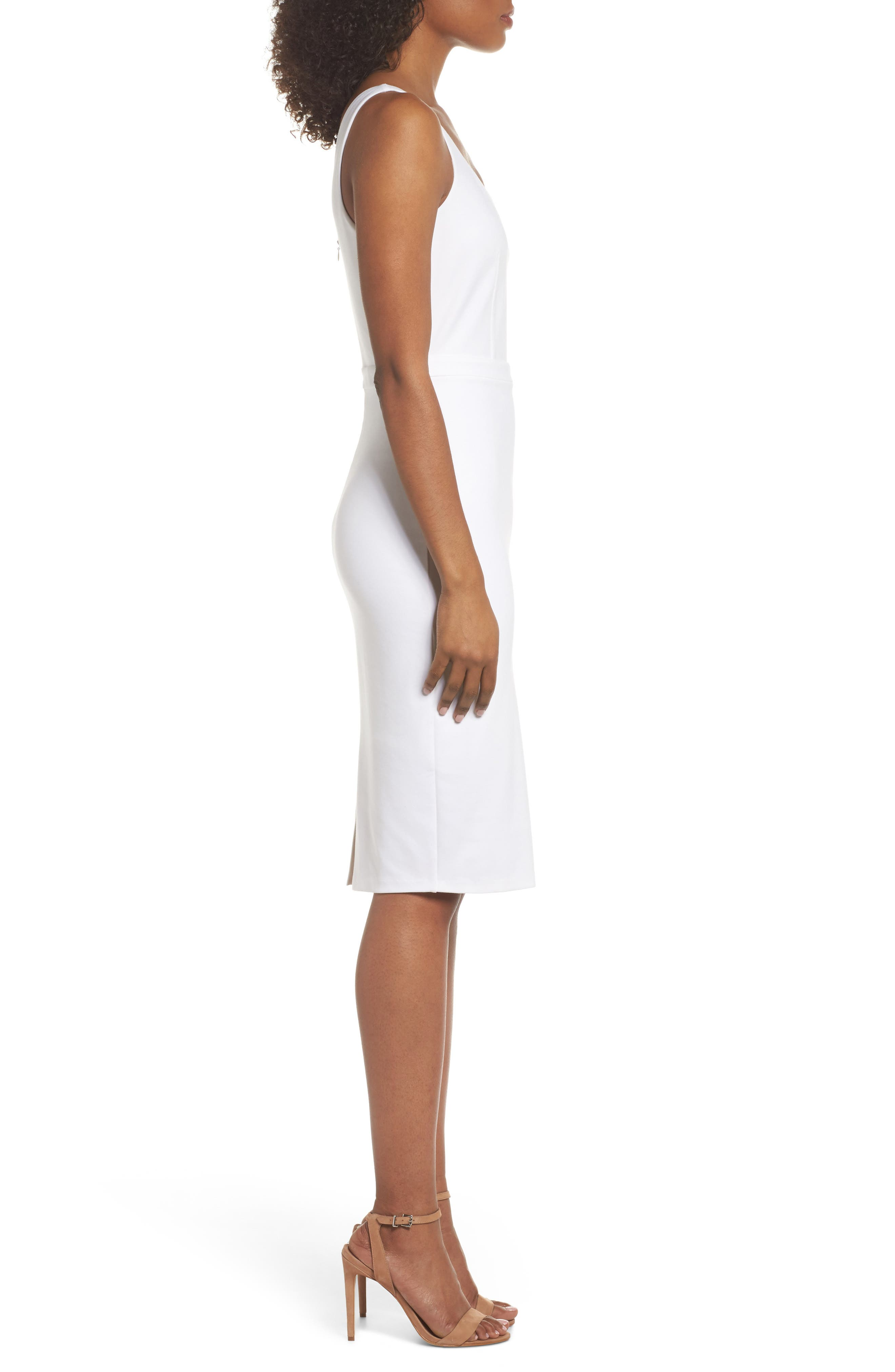 First Date Sheath Dress,                             Alternate thumbnail 4, color,                             White