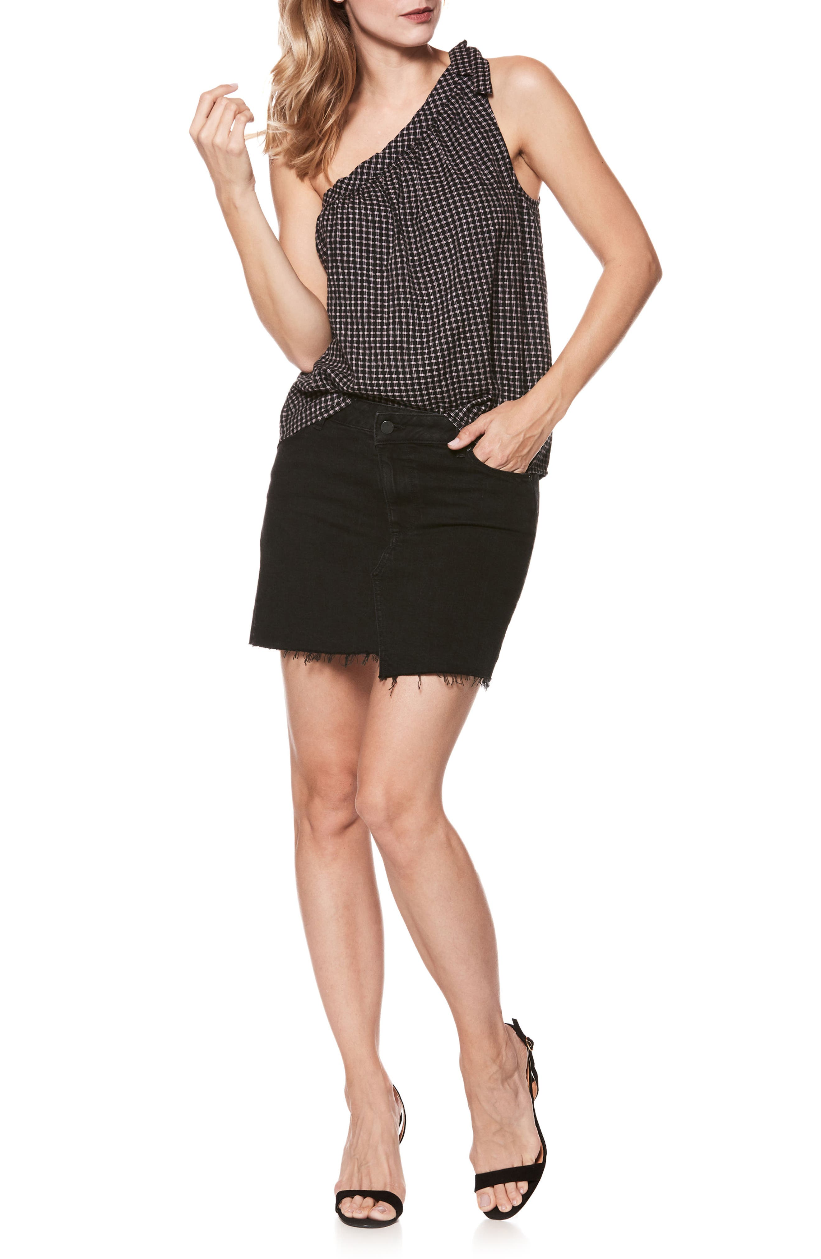 Afia Asymmetrical Step Hem Denim Miniskirt,                             Alternate thumbnail 2, color,                             Vintage Noir