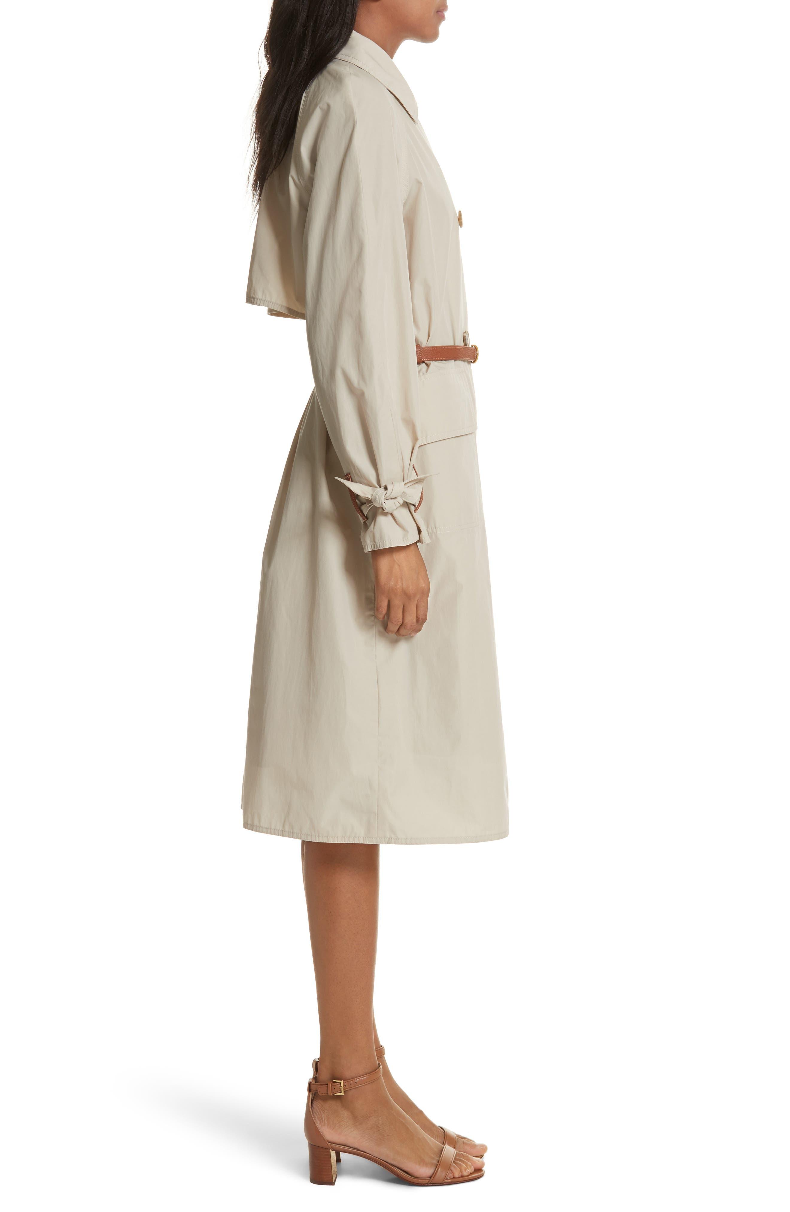 Marielle Leather Trim Trench Coat,                             Alternate thumbnail 3, color,                             Pale Stone