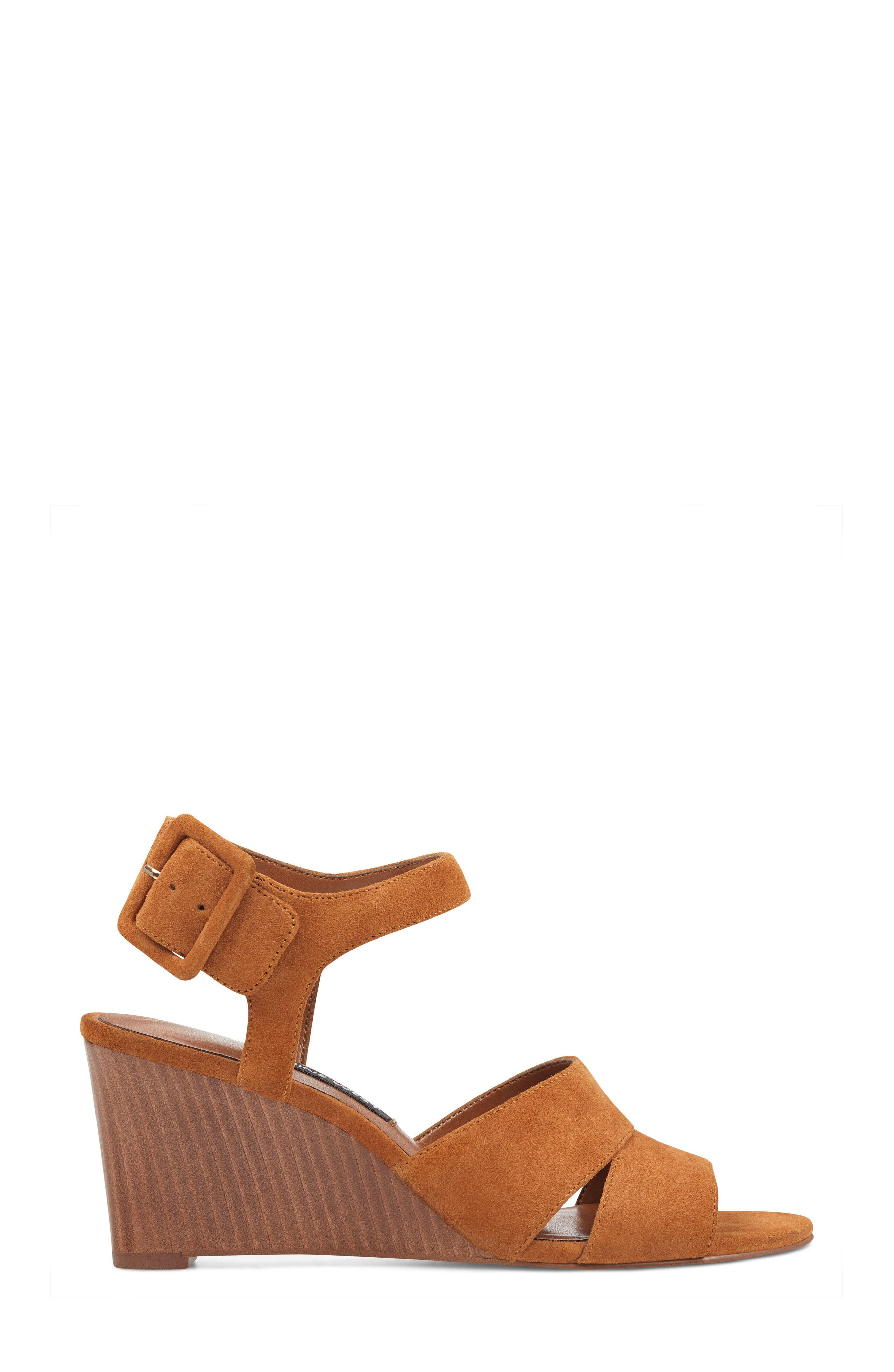 Vahan Wedge Sandal,                             Alternate thumbnail 3, color,                             Dark Natural Suede