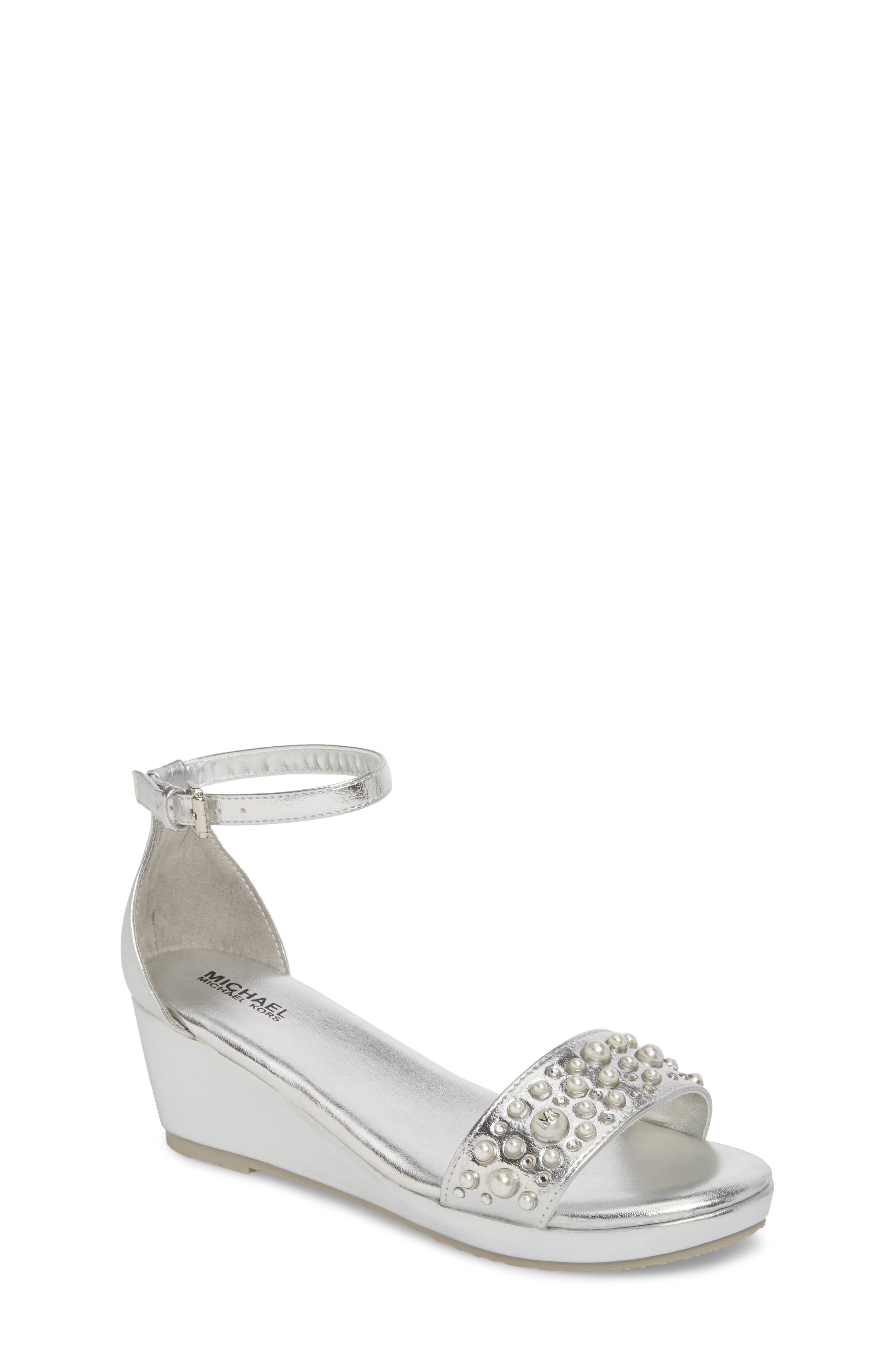 Cate Embellished Wedge Sandal,                         Main,                         color, Silver