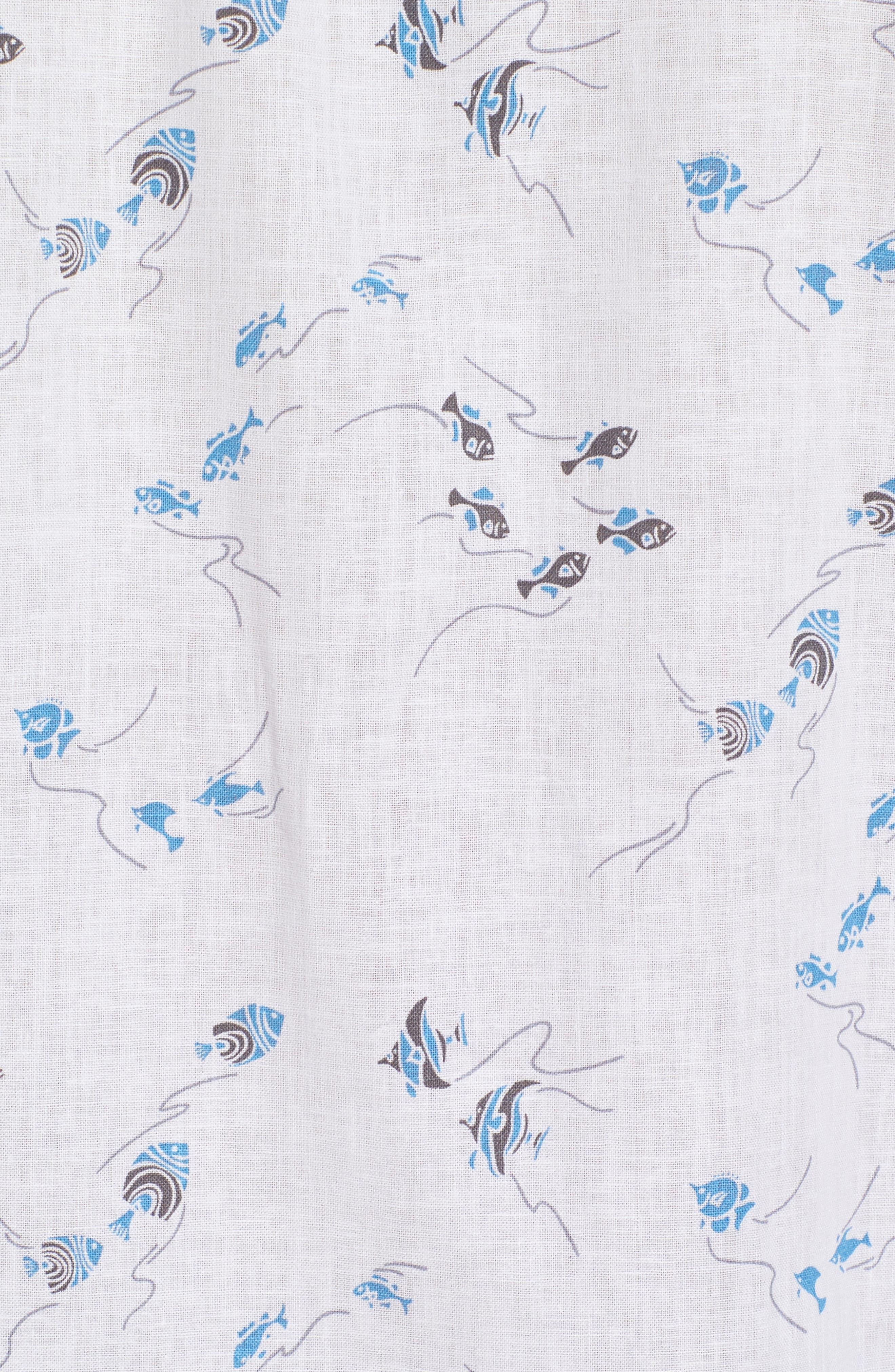 Swim School Standard Fit Linen Blend Camp Shirt,                             Alternate thumbnail 5, color,                             White