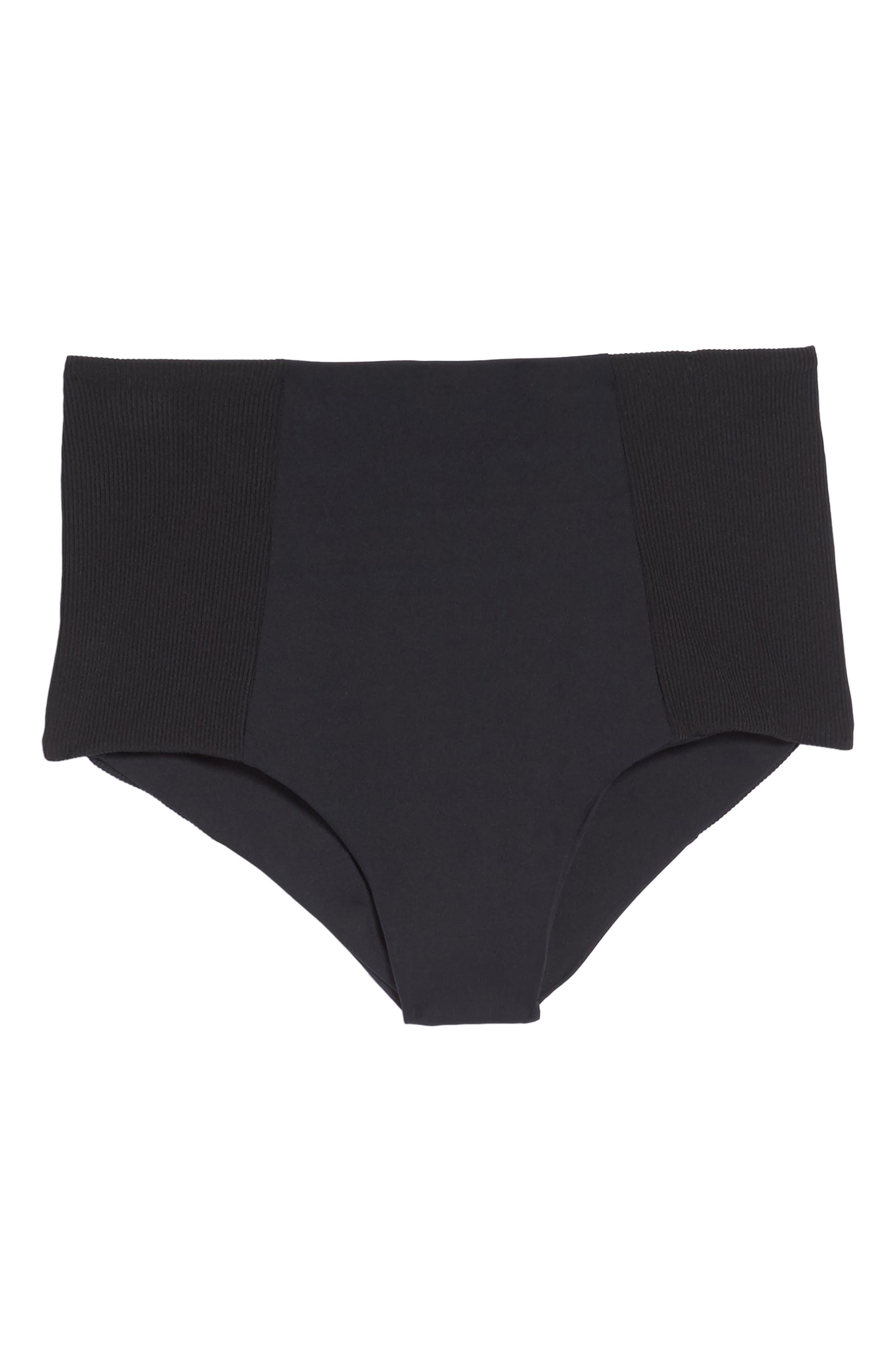 Jackie High Waist Bikini Bottoms,                             Alternate thumbnail 6, color,                             Black