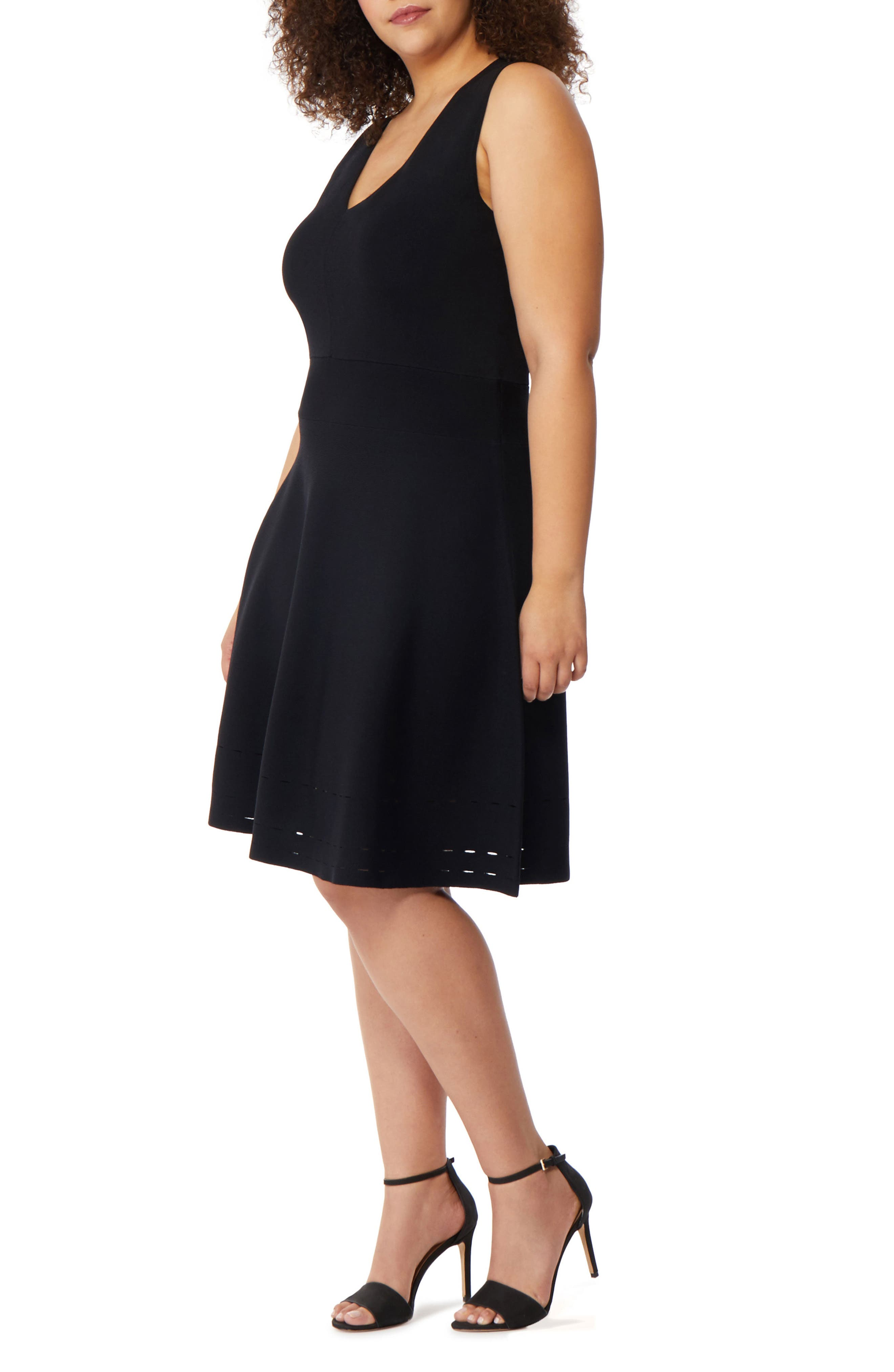 Pointelle Detail Fit & Flare Dress,                         Main,                         color, Black