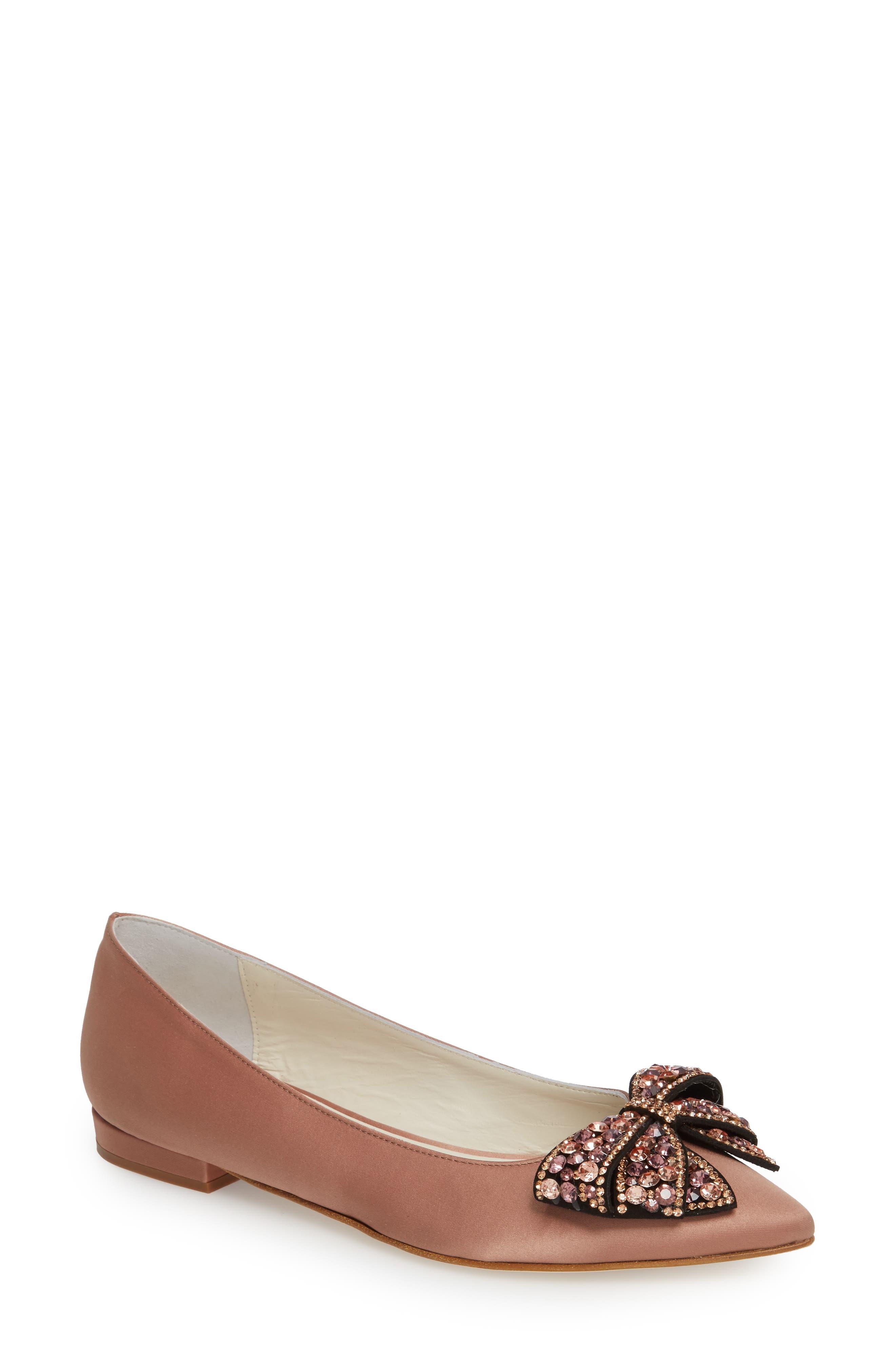 Milva Embellished Bow Pointy Toe Flat,                             Main thumbnail 1, color,                             Blush Satin