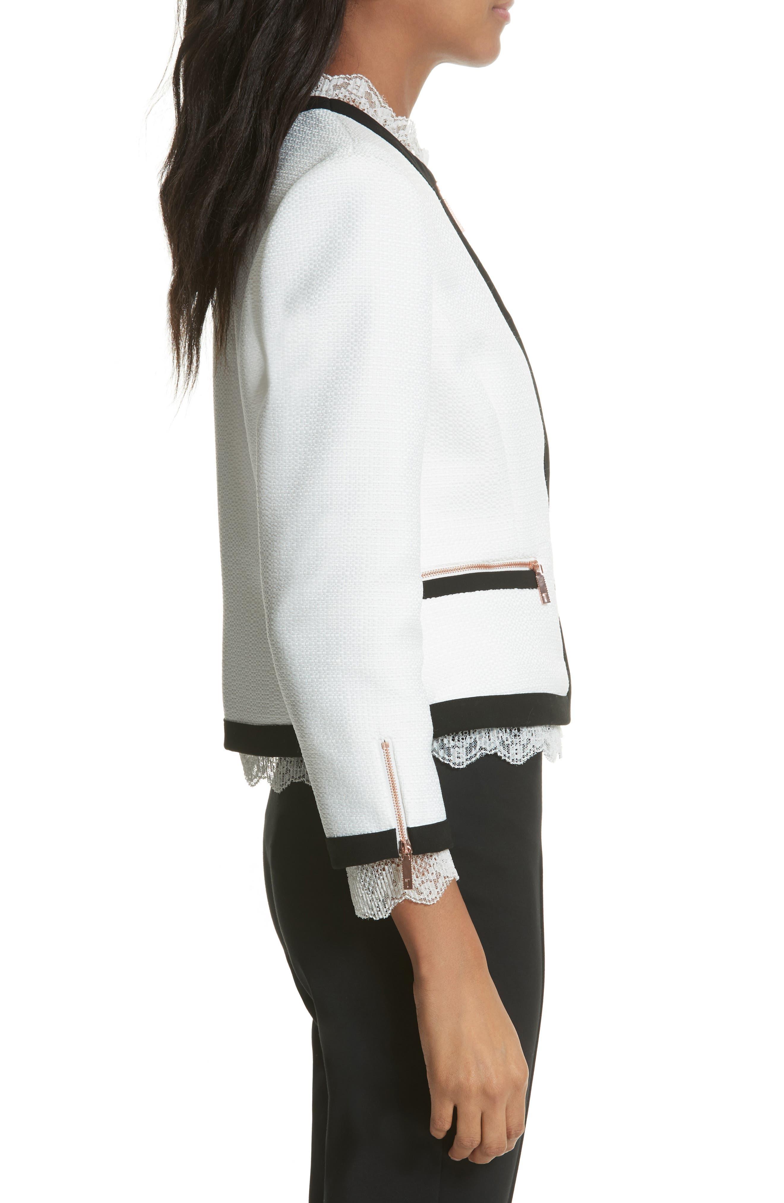 Lace Trim Crop Jacket,                             Alternate thumbnail 3, color,                             White