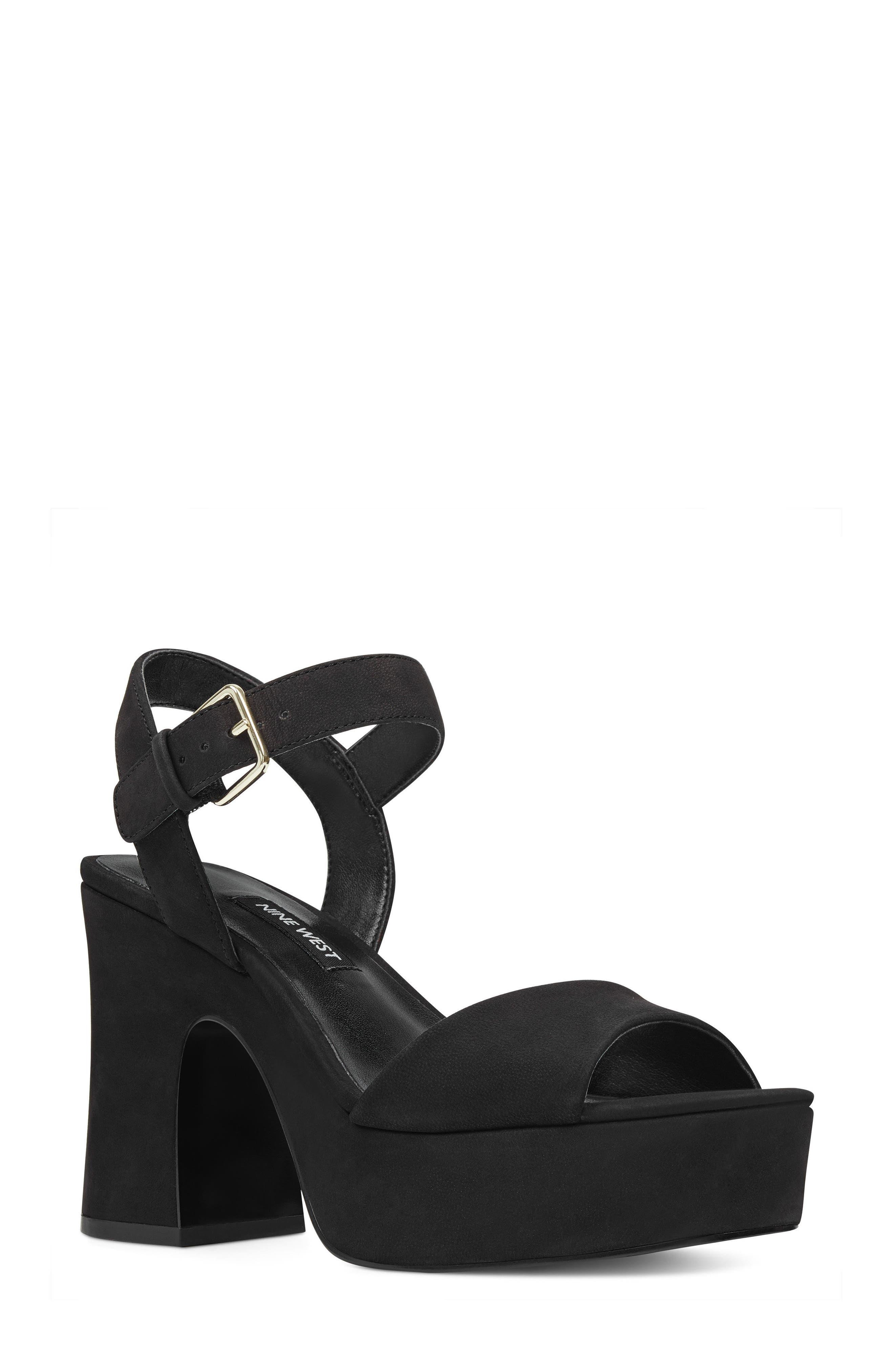 FallForU Platform Sandal,                         Main,                         color, Black Leather
