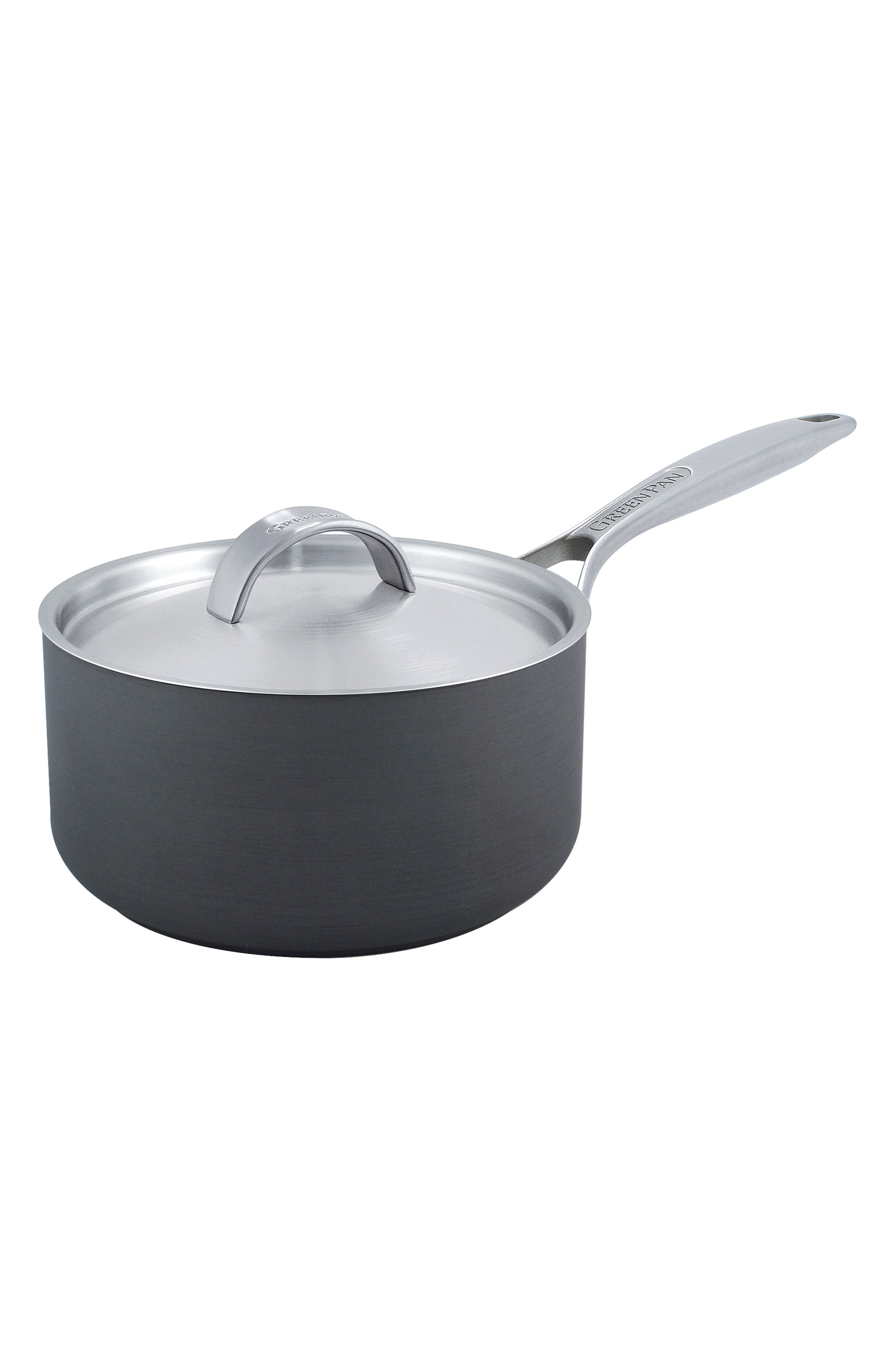 Paris 3-Quart Multilayer Stainless Steel Ceramic Nonstick Saucepan with Lid,                         Main,                         color, Grey