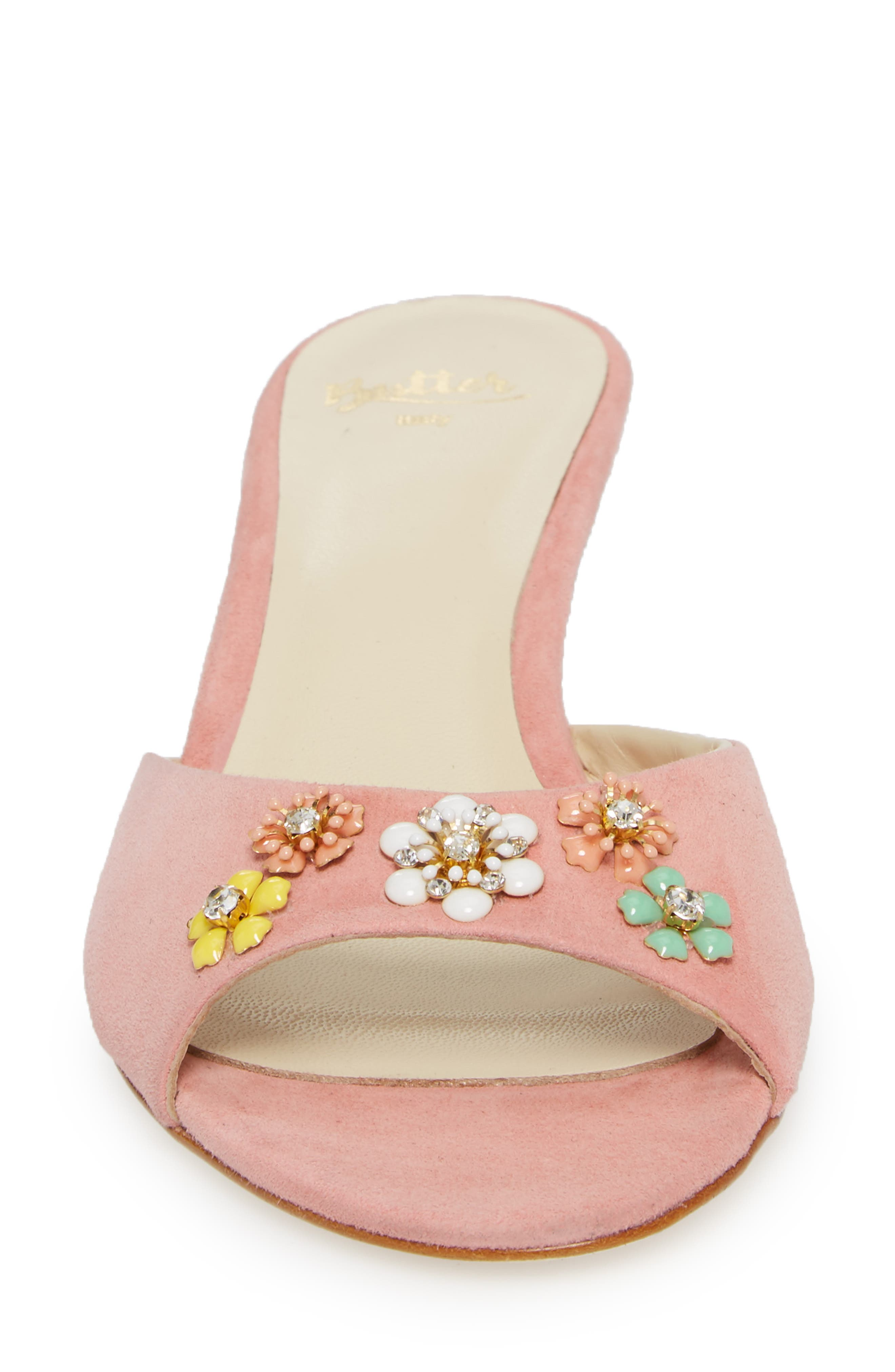 Butter Betteye Embellished Mule,                             Alternate thumbnail 4, color,                             Seashell Suede