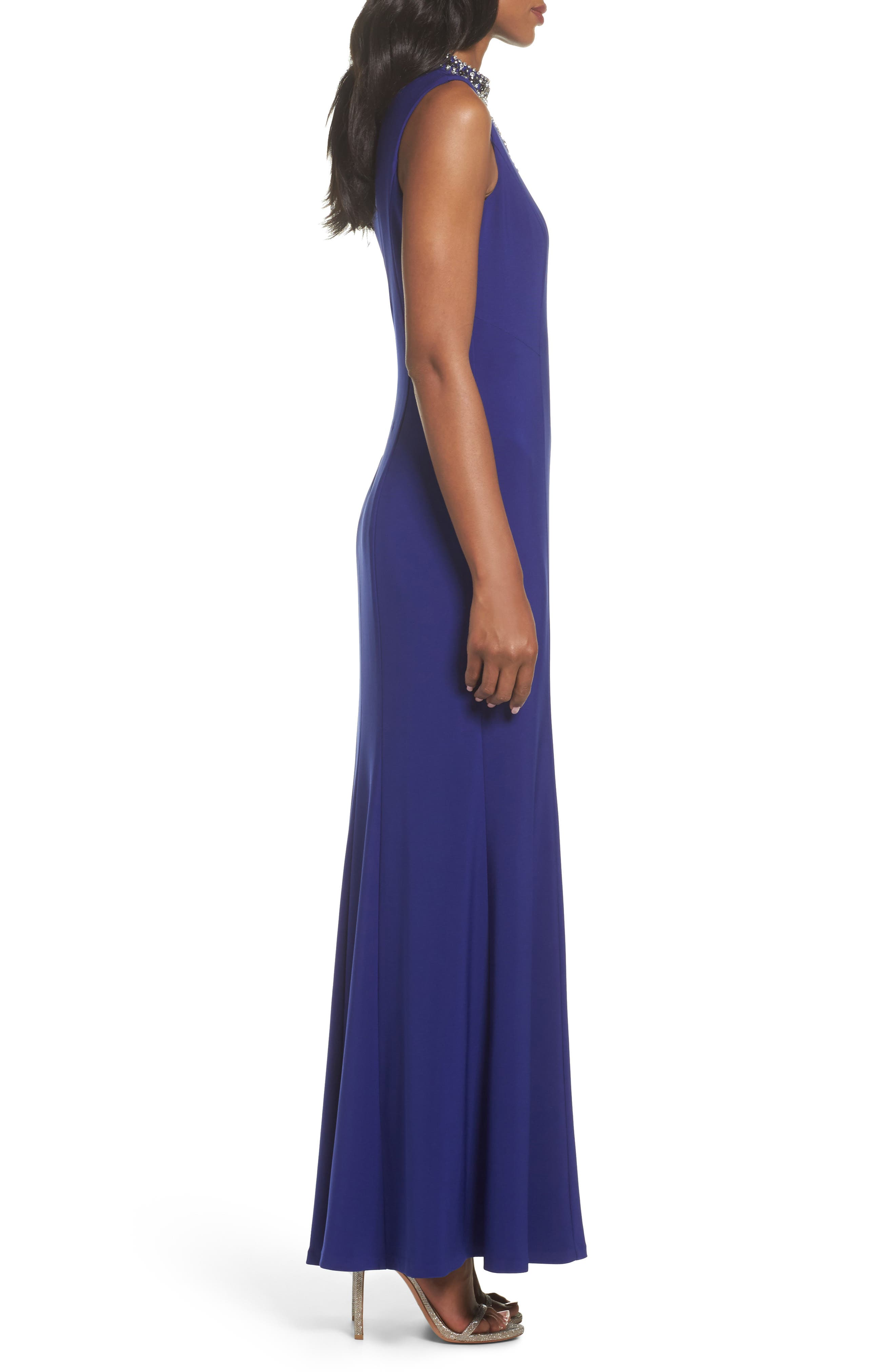 Embellished A-Line Gown,                             Alternate thumbnail 3, color,                             Royal