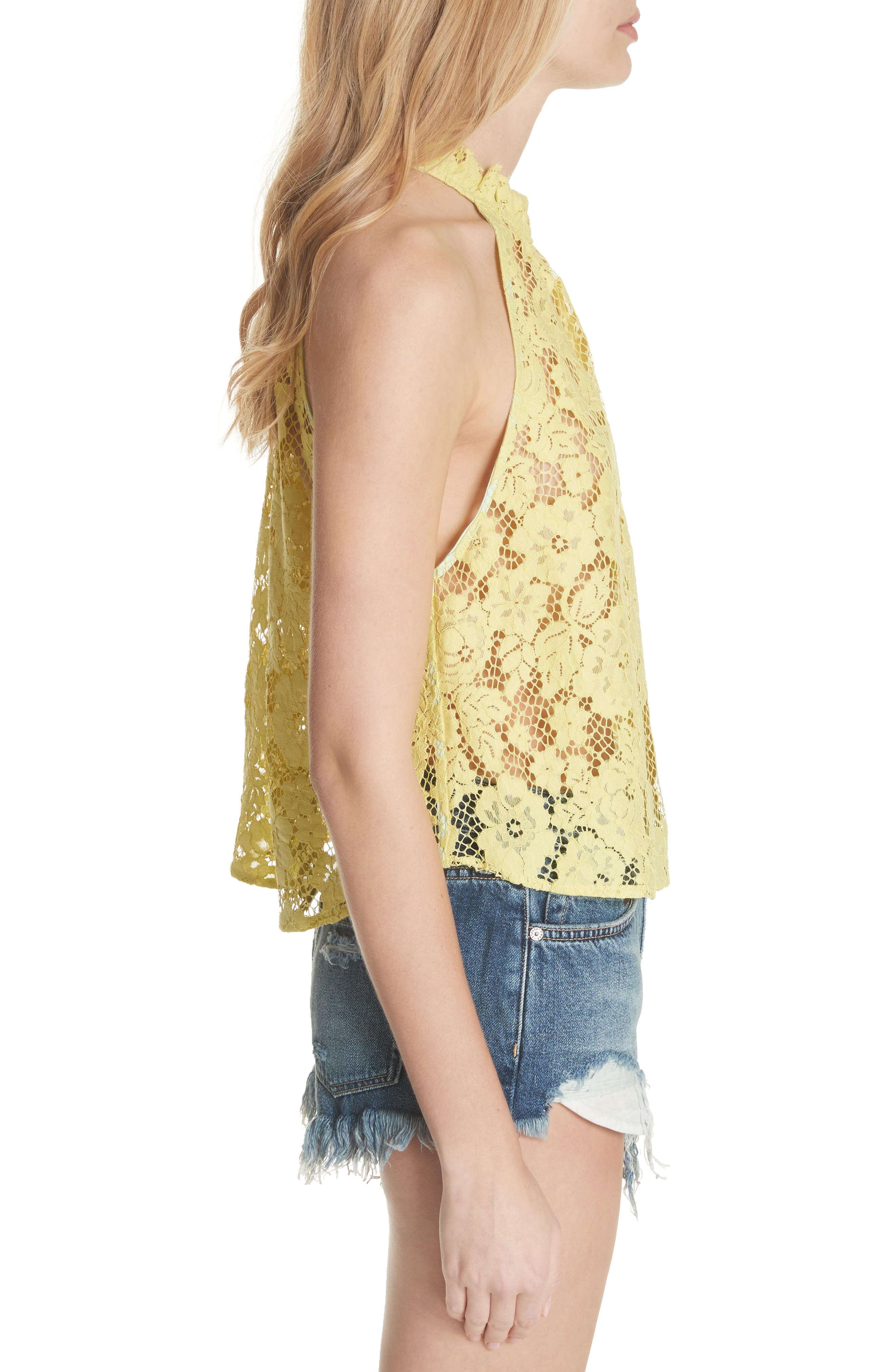 Sweet Meadow Dreams Lace Top,                             Alternate thumbnail 3, color,                             Chartreuse