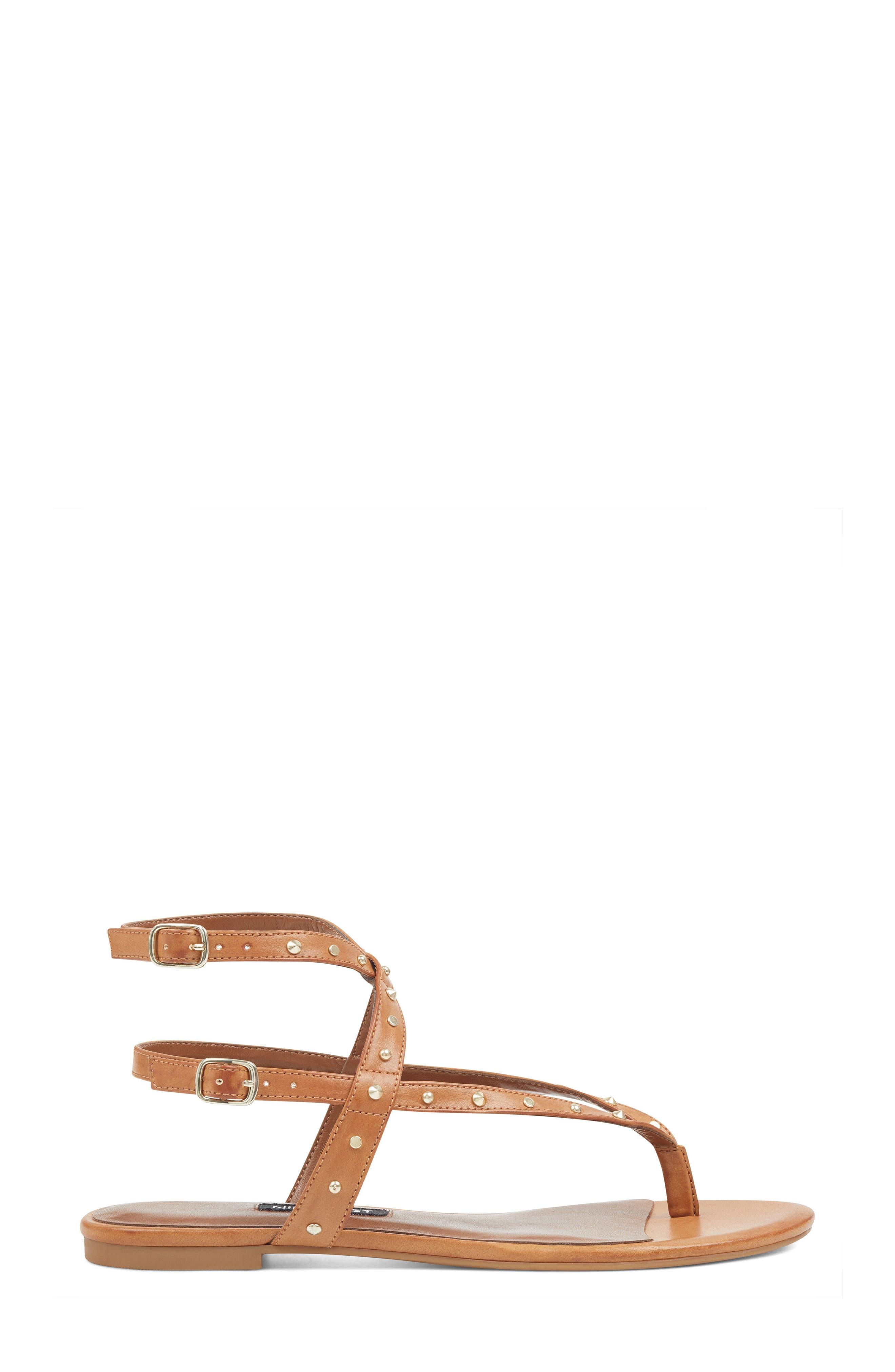 Simcha Studded Wraparound Sandal,                             Alternate thumbnail 3, color,                             Dark Natural Faux Leather