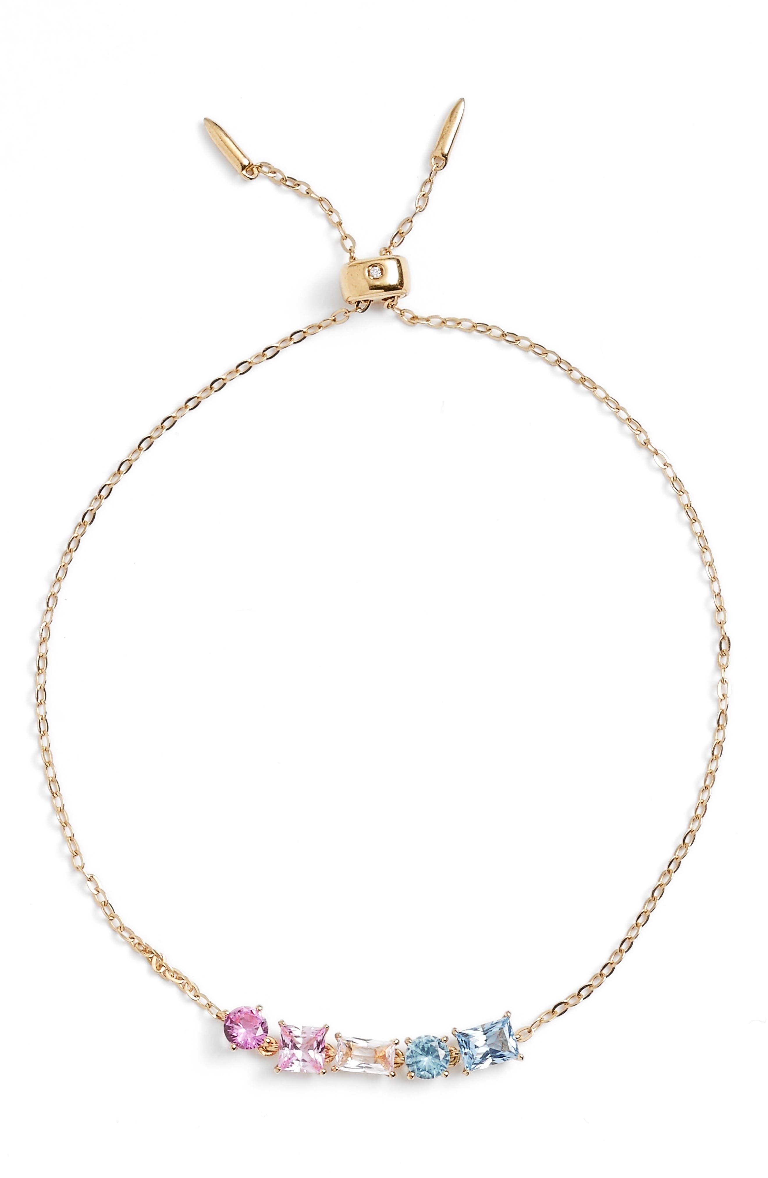 Cubic Zirconia Bracelet,                             Main thumbnail 1, color,                             Gold