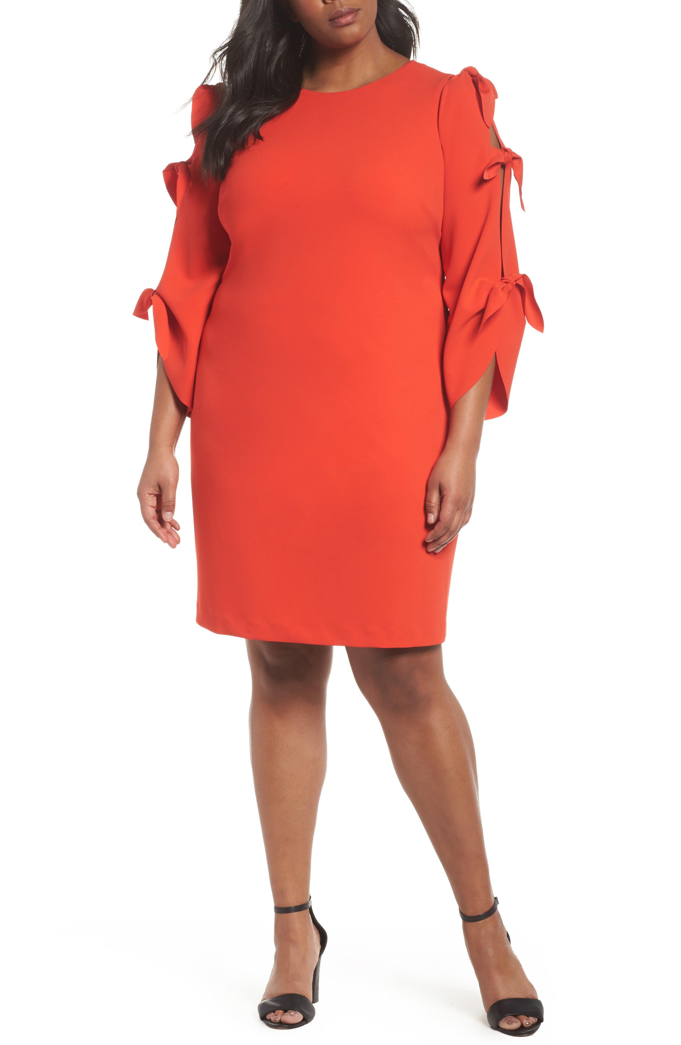 Tie Bell Sleeve Ponte Shift Dress,                         Main,                         color, Geranium