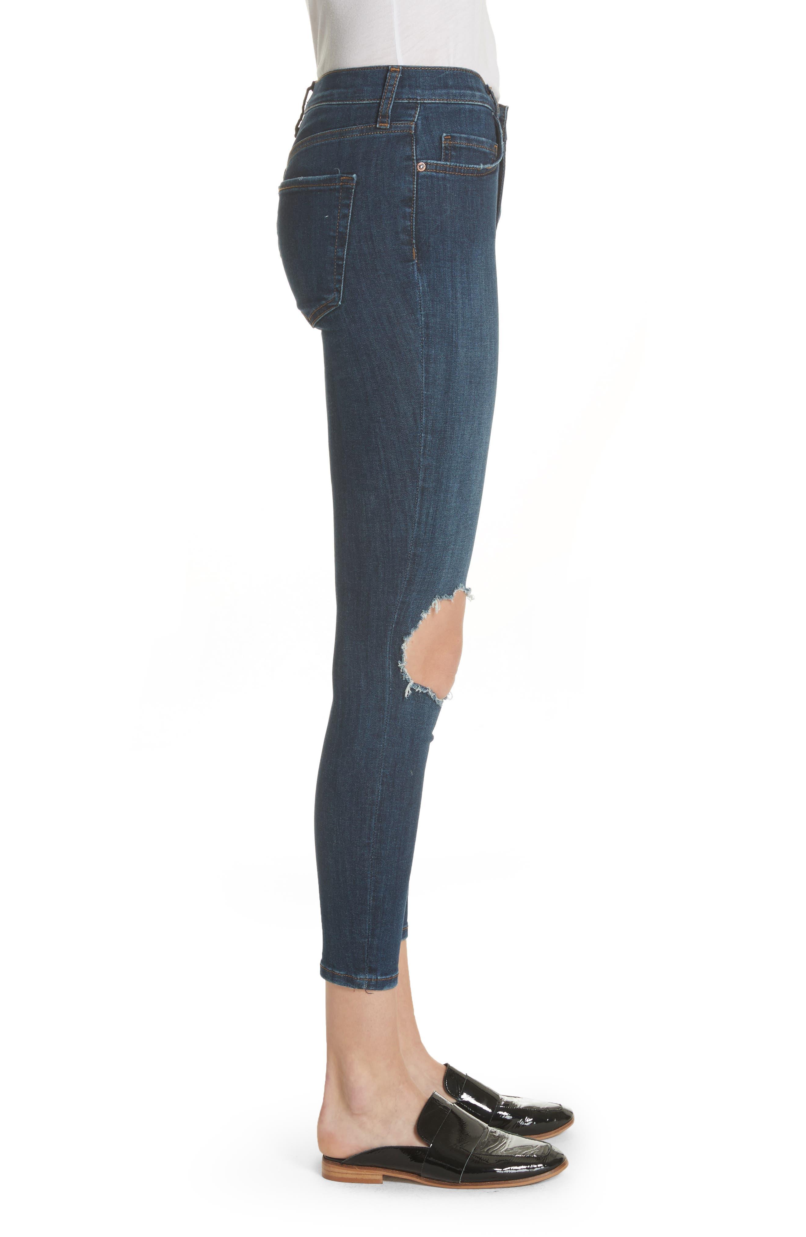 High Waist Ankle Skinny Jeans,                             Alternate thumbnail 3, color,                             Dark Blue