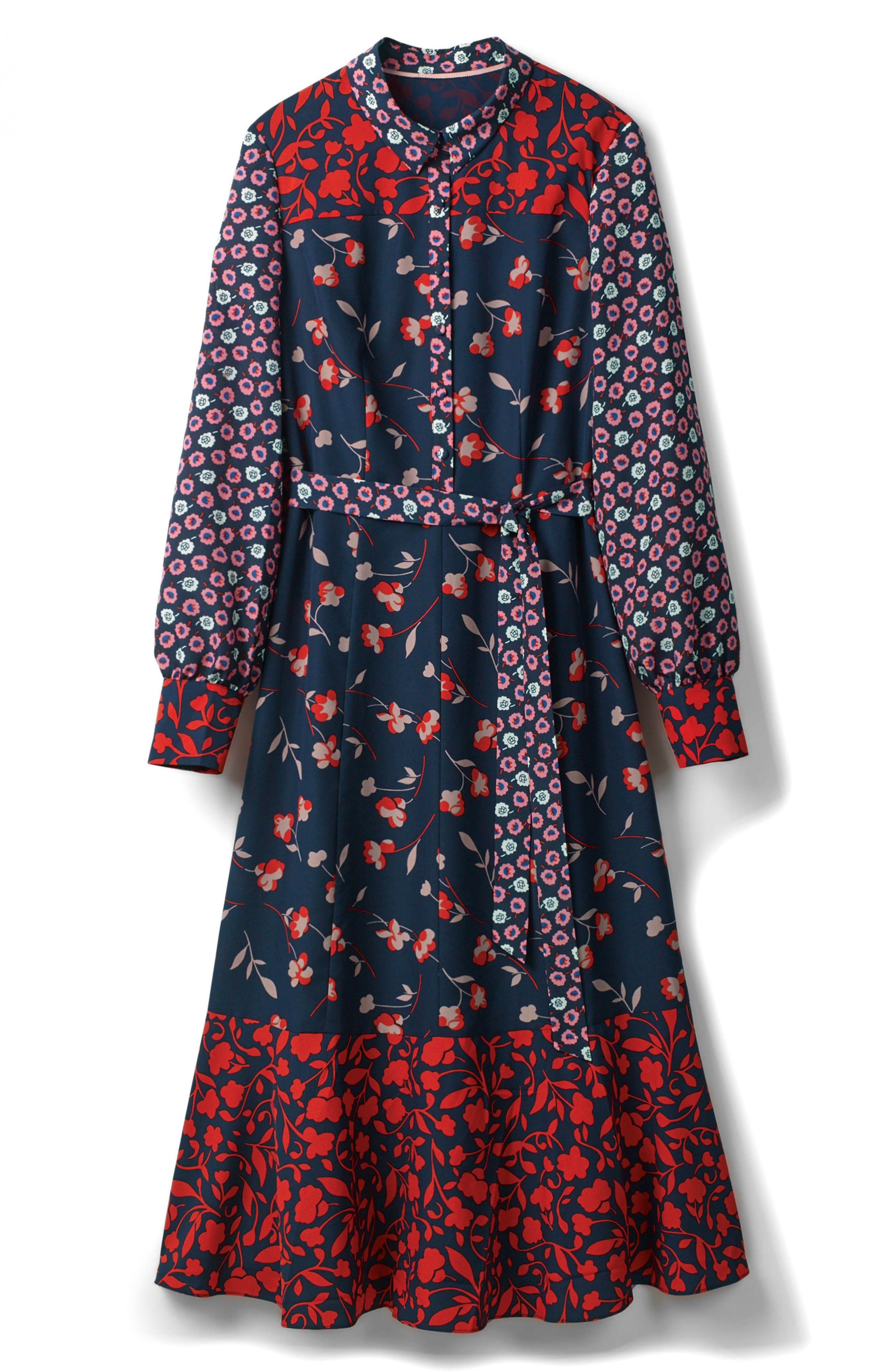 Mixed Print Midi Shirtdress,                             Main thumbnail 1, color,                             Navy/ Wildflower Sma