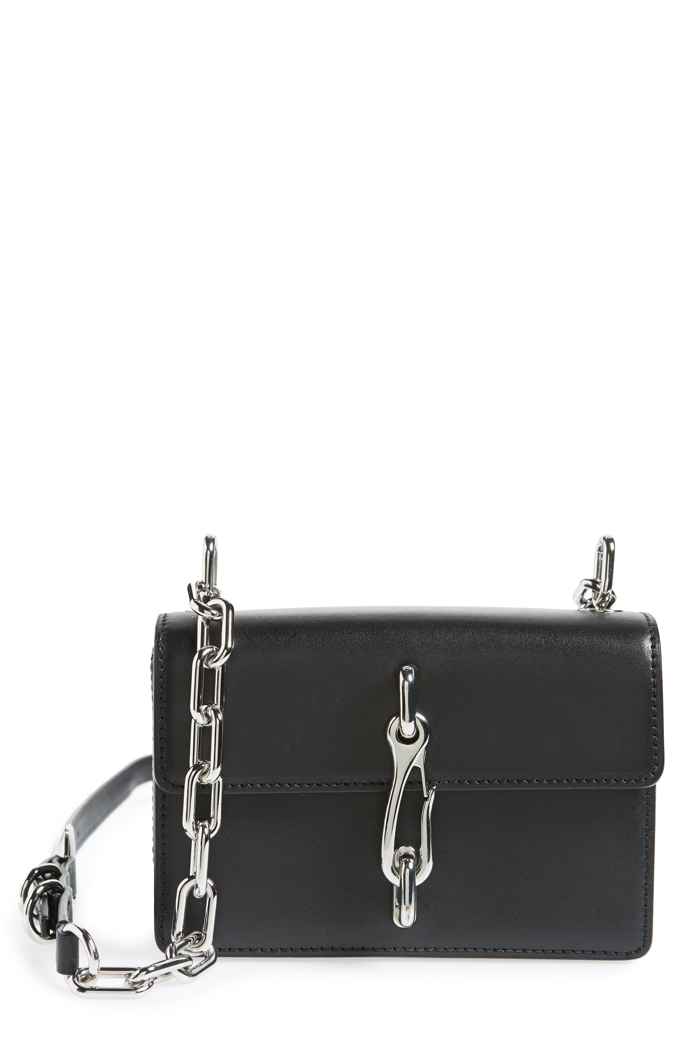 Hook Small Leather Crossbody Bag,                             Main thumbnail 1, color,                             Black