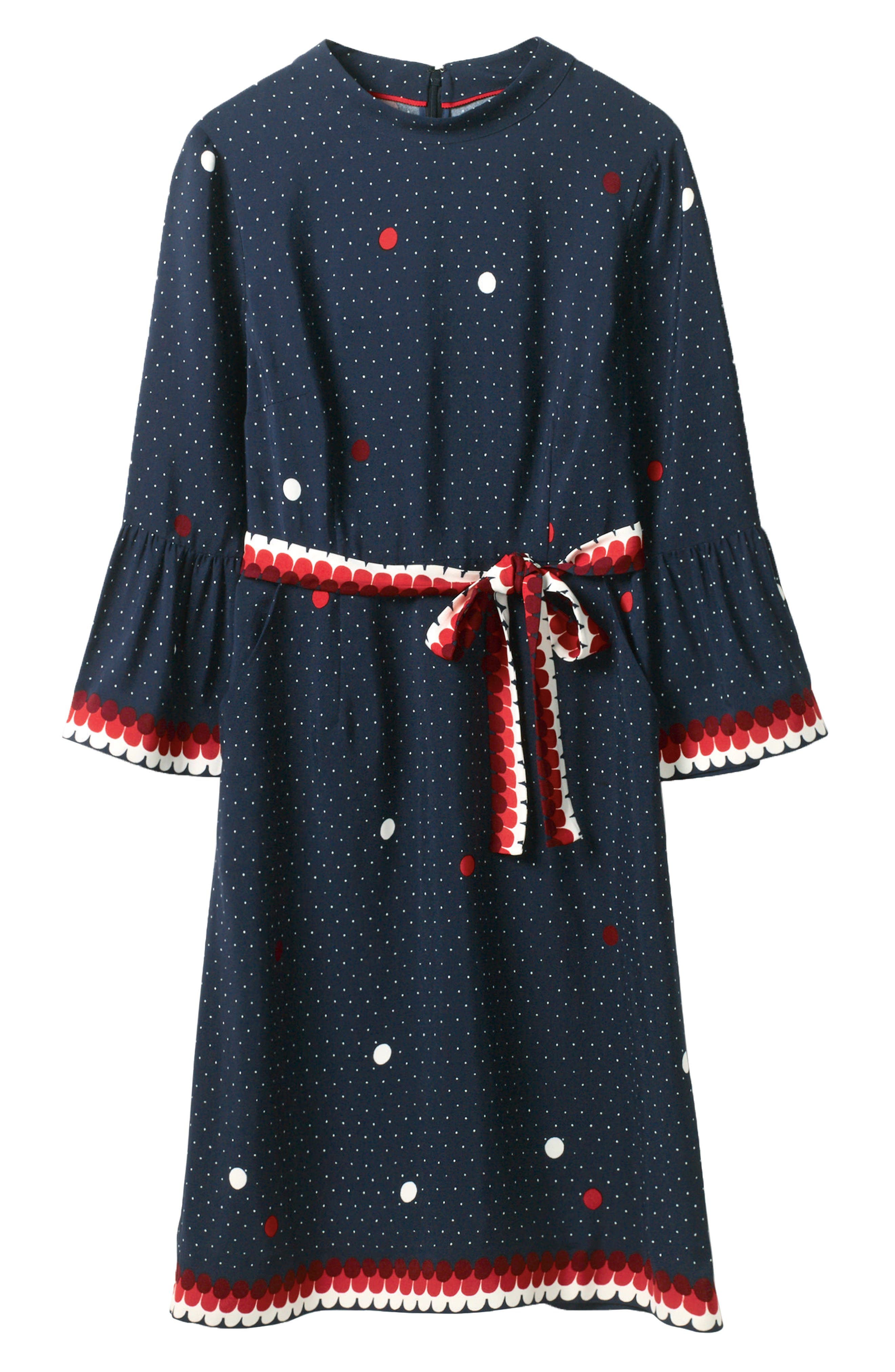 Ruffle Sleeve Polka Dot DRess,                             Alternate thumbnail 6, color,                             Navy/ Spot Border