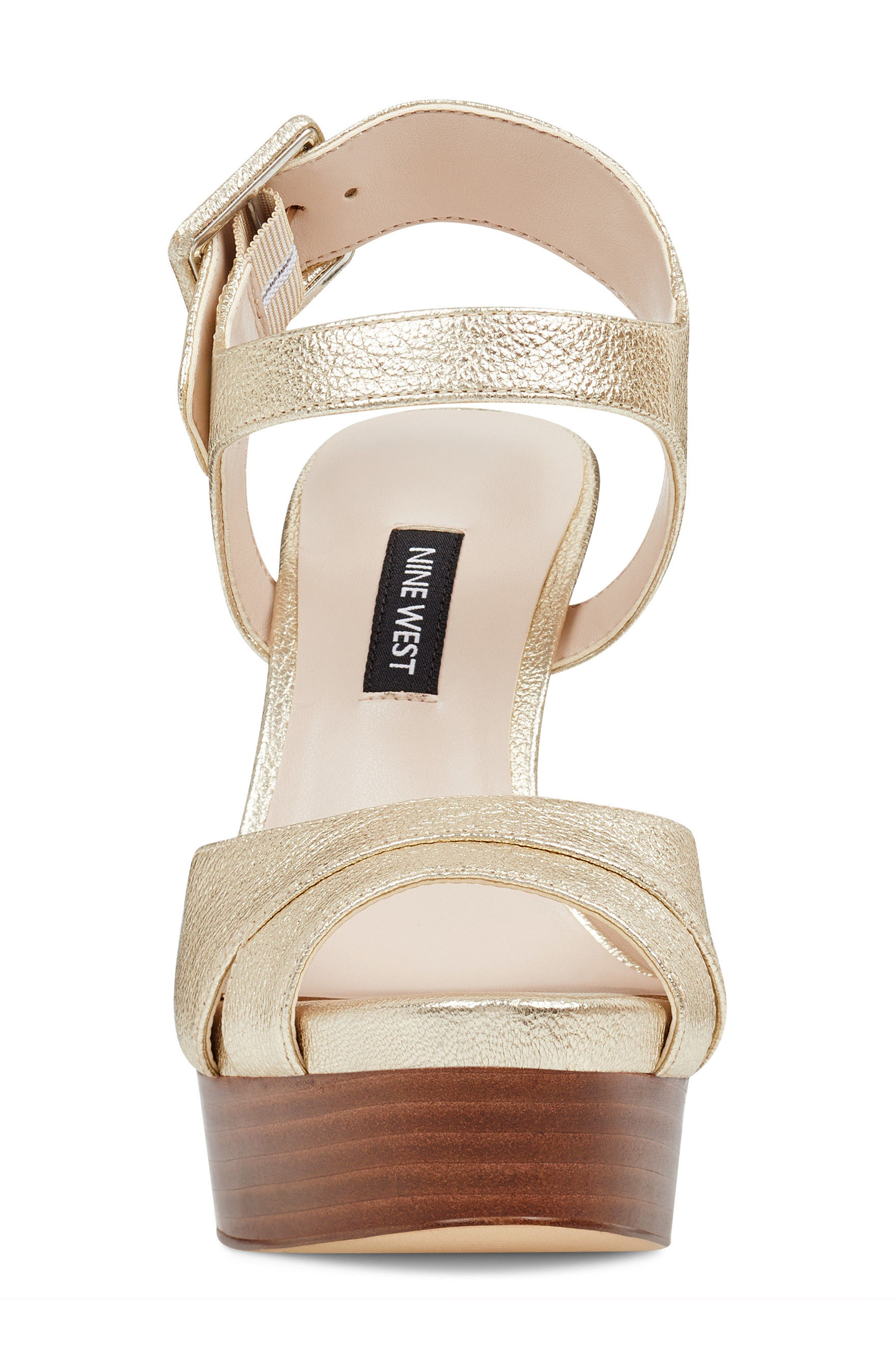 Ibyn Platform Sandal,                             Alternate thumbnail 4, color,                             Light Gold Leather