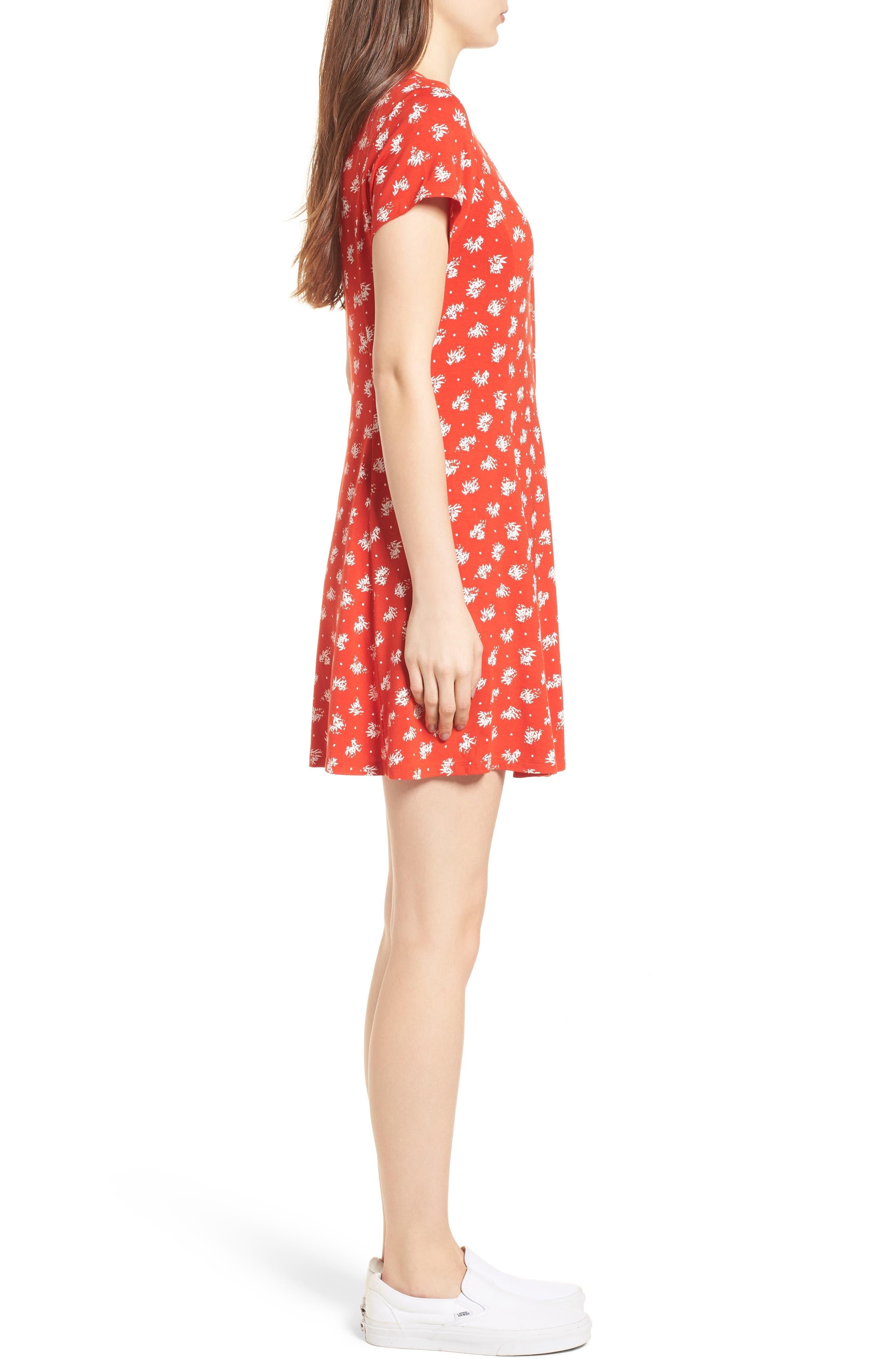 Ella Print Dress,                             Alternate thumbnail 3, color,                             Fiery Red