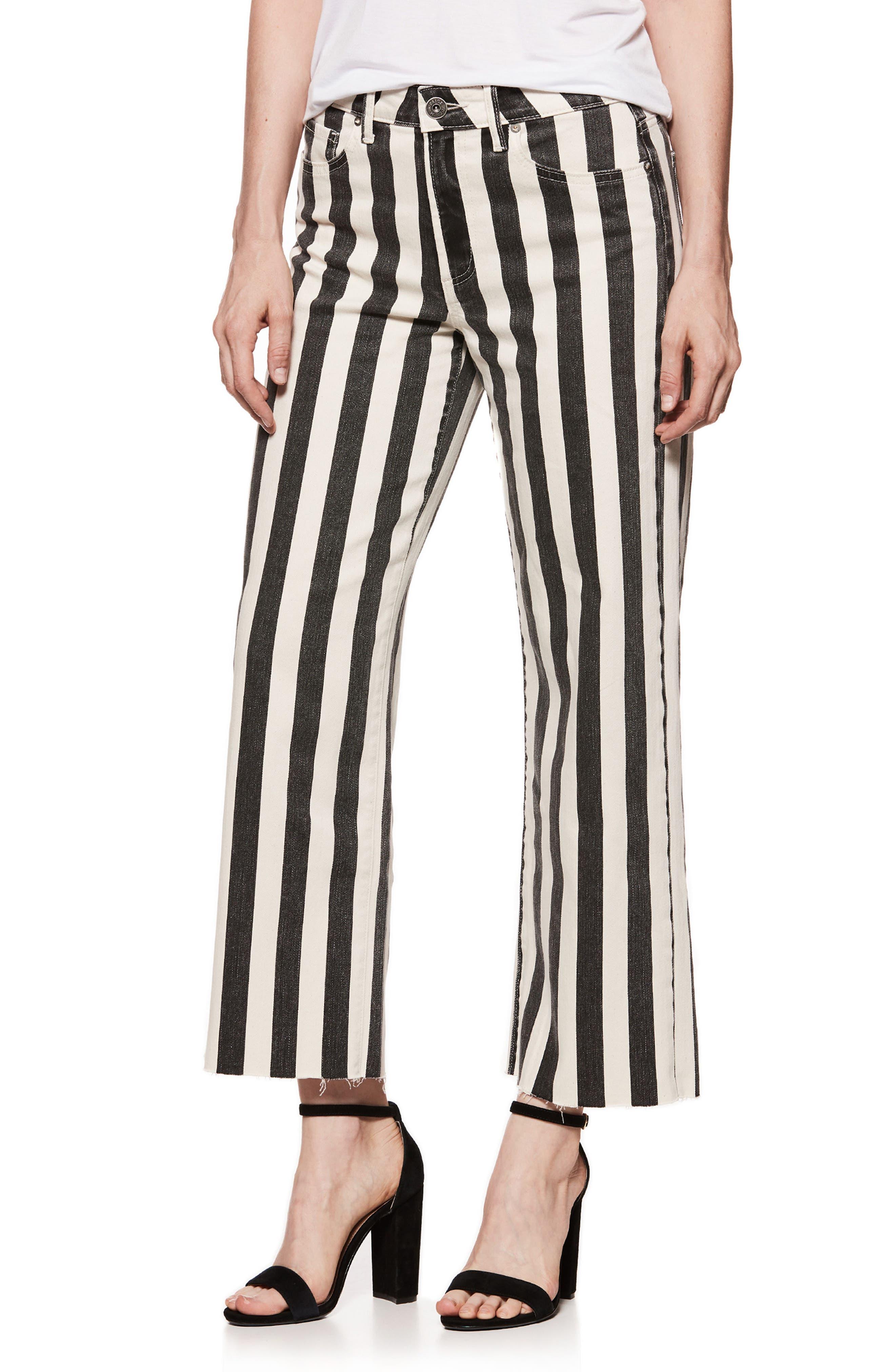 Nellie High Waist Culotte Jeans,                             Main thumbnail 1, color,                             Black/ Ecru Stripe