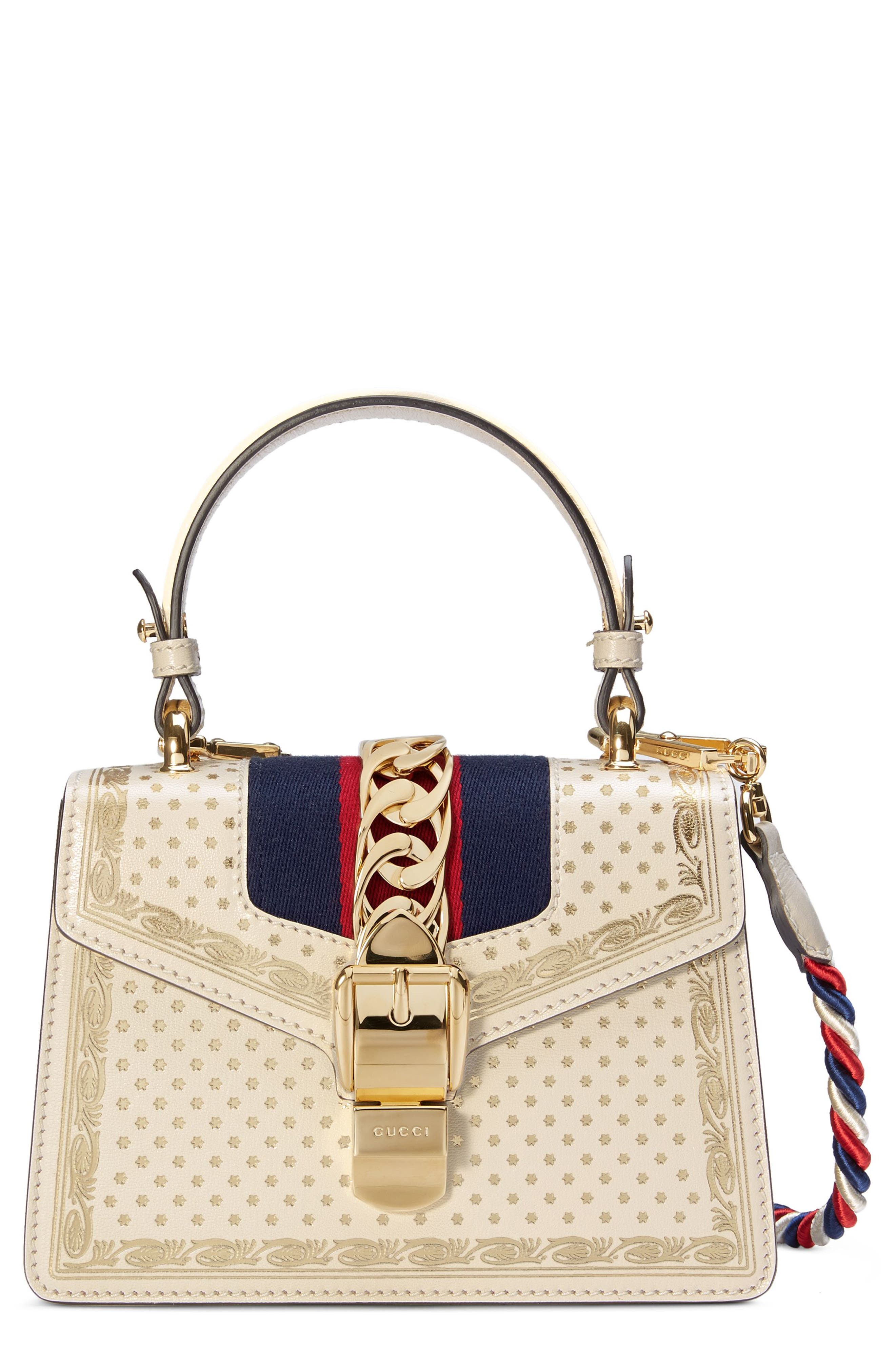 Mini Sylvie Moon & Stars Leather Shoulder Bag,                             Main thumbnail 1, color,                             Mystic White/ Oro/ Blue Red