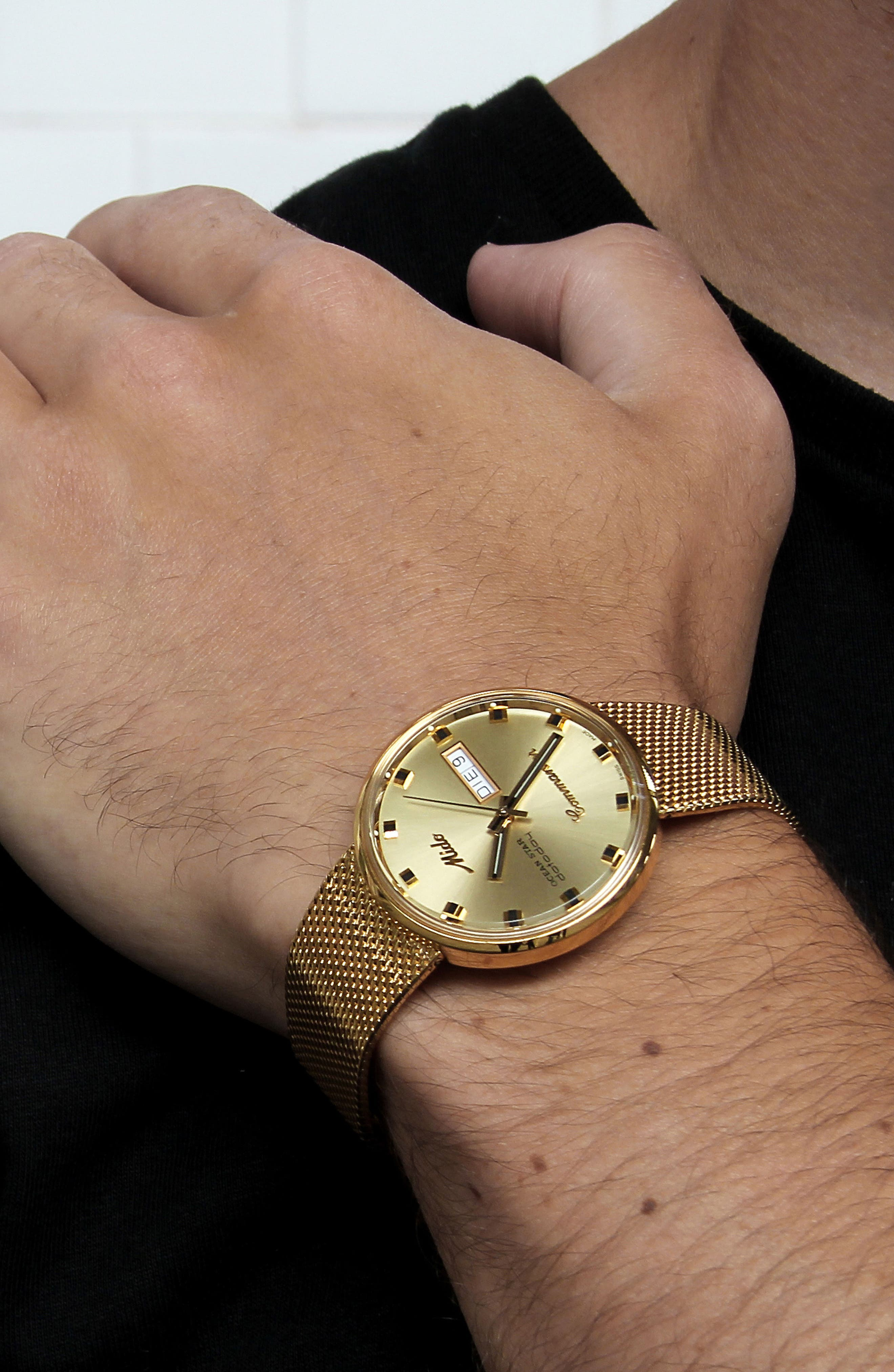 Commander Automatic Mesh Strap Watch, 37mm,                             Alternate thumbnail 5, color,                             Gold/ Yellow/ Gold